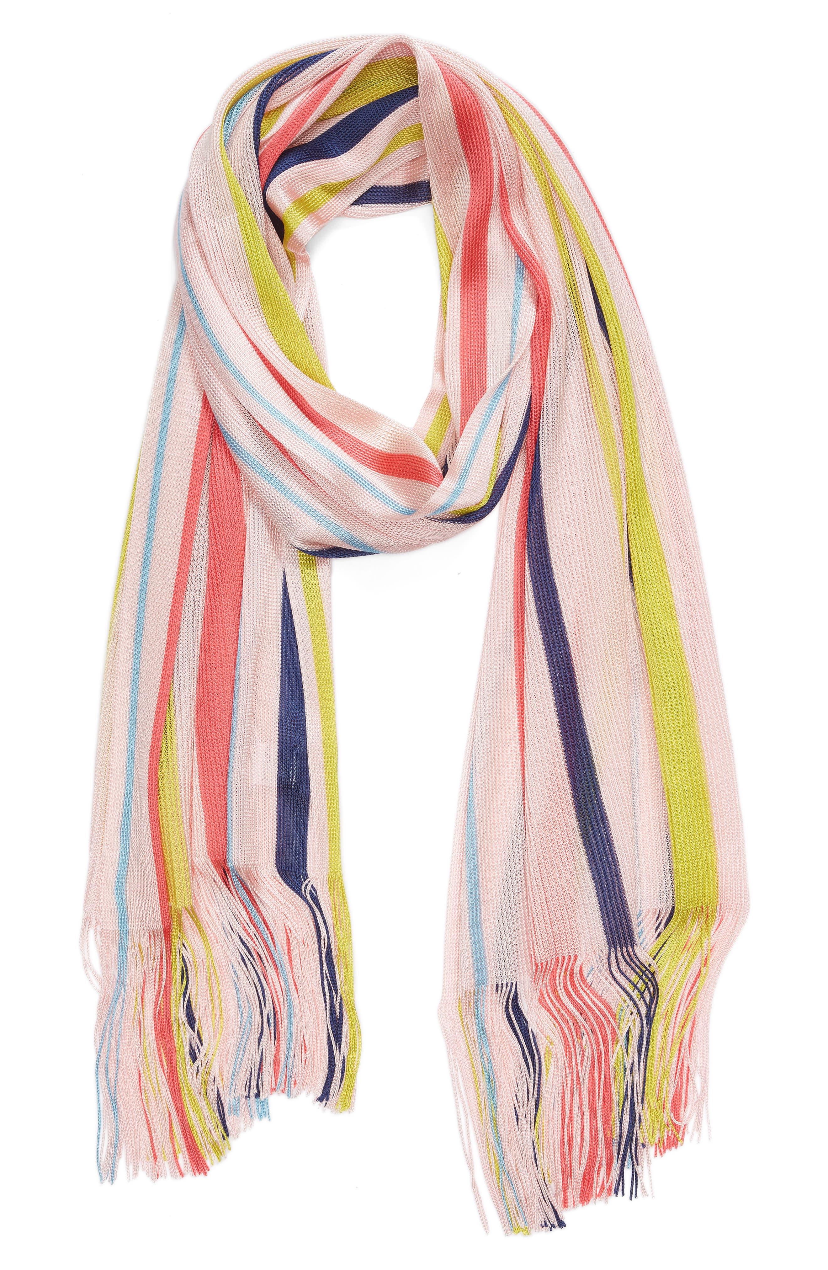 Cabana Stripe Silk Scarf,                             Alternate thumbnail 2, color,                             Rose Pink