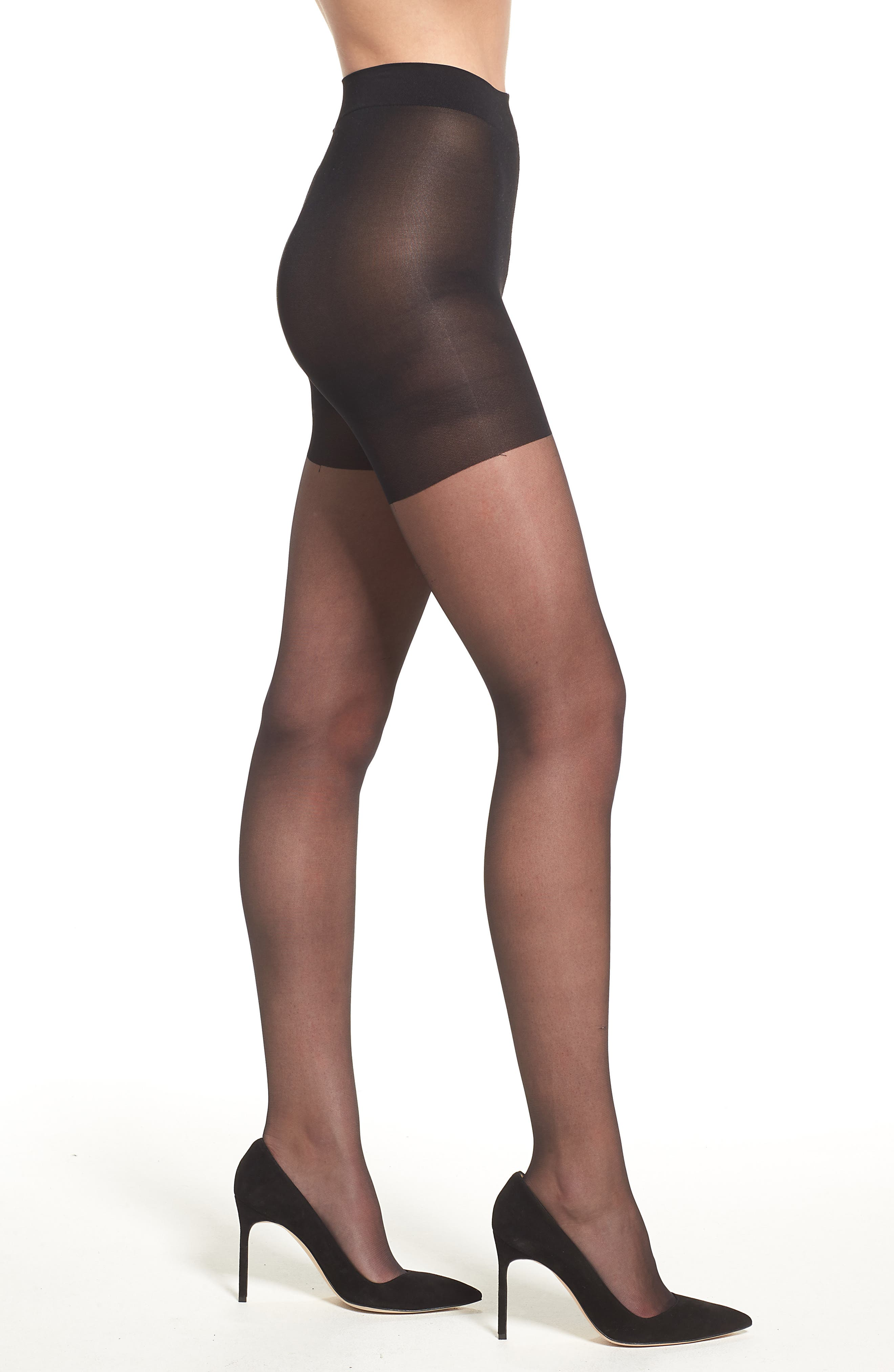 Sheer Control Top Pantyhose,                         Main,                         color, Black