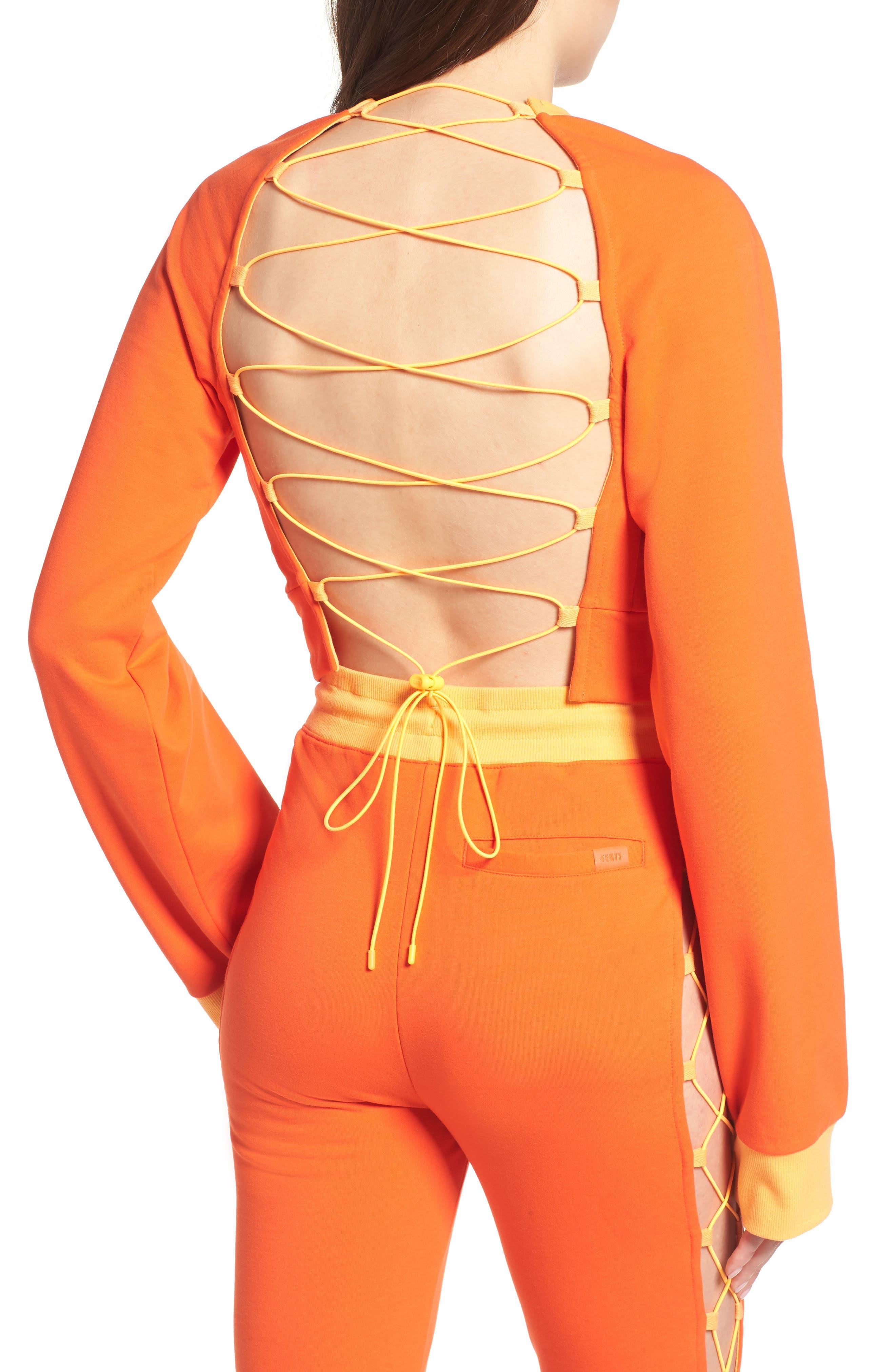 FENTY PUMA by Rihanna Lace-Up Back Sweatshirt,                             Alternate thumbnail 2, color,                             Cherry Tomato