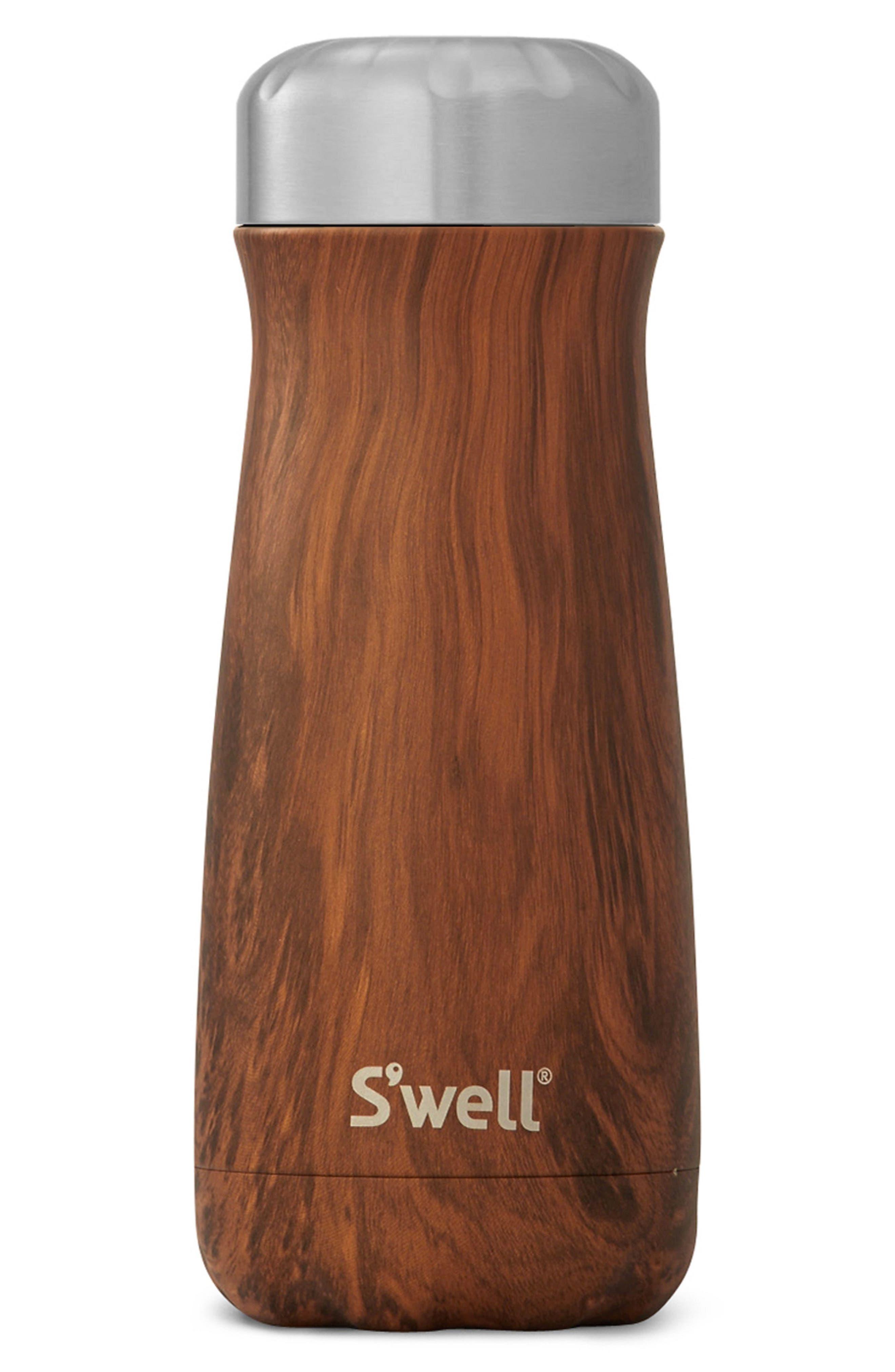 Traveler Teakwood Insulated Stainless Steel Water Bottle,                             Main thumbnail 1, color,                             Teakwood