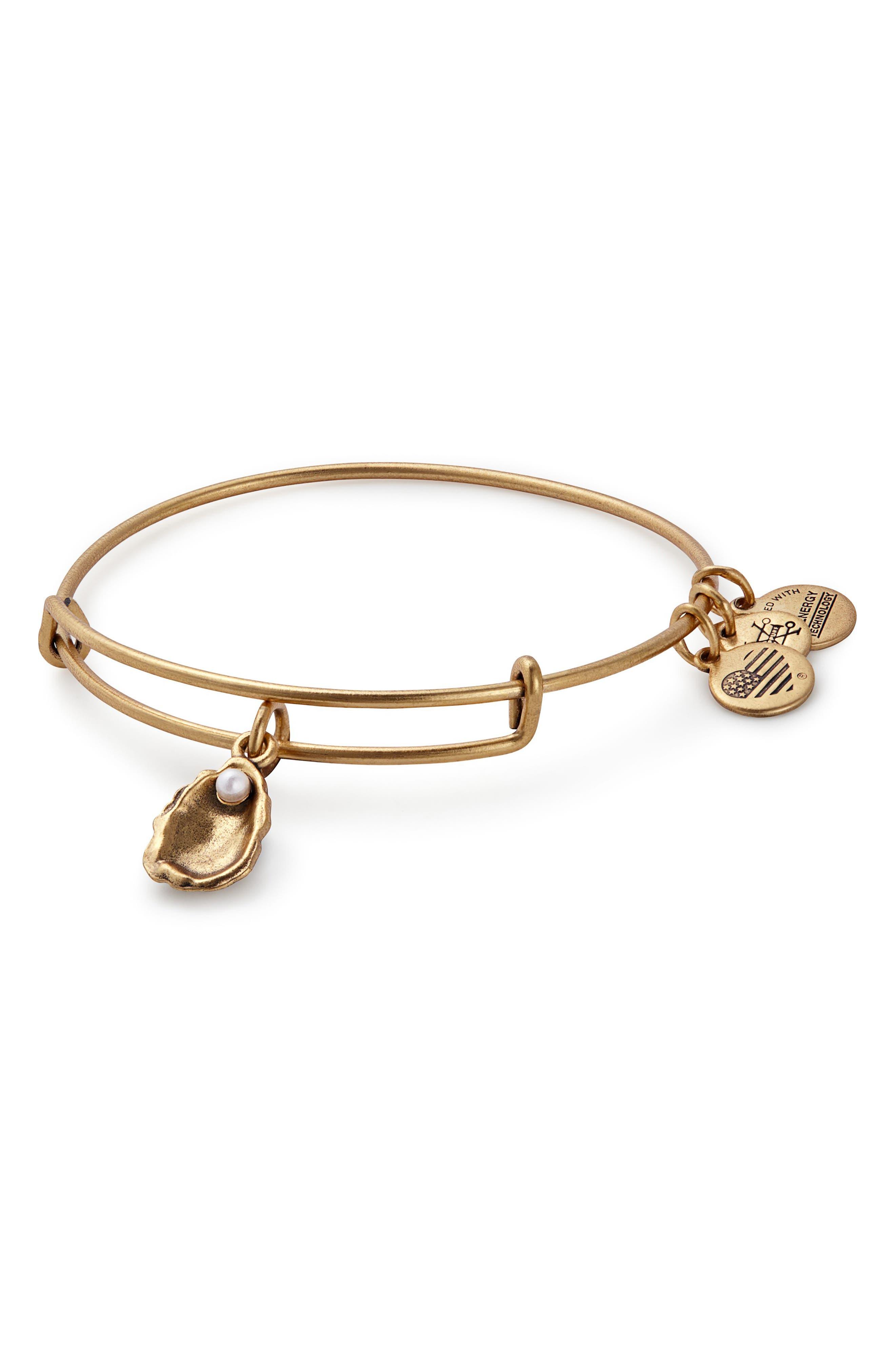 Imitation Pearl Oyster Adjustable Bracelet,                             Main thumbnail 1, color,                             Gold