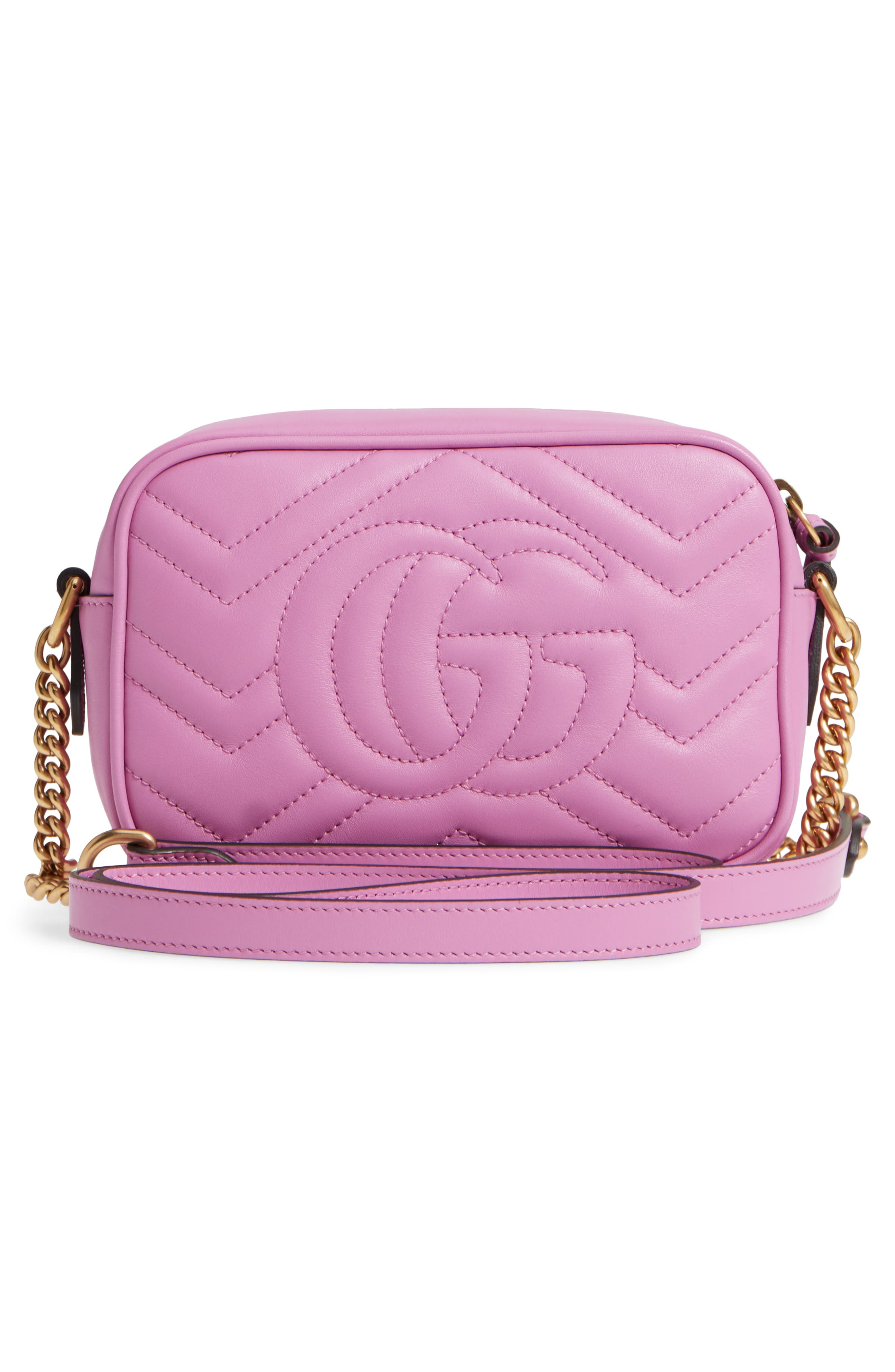 GG Marmont 2.0 Matelassé Leather Camera Bag,                             Alternate thumbnail 3, color,                             Candy Mous