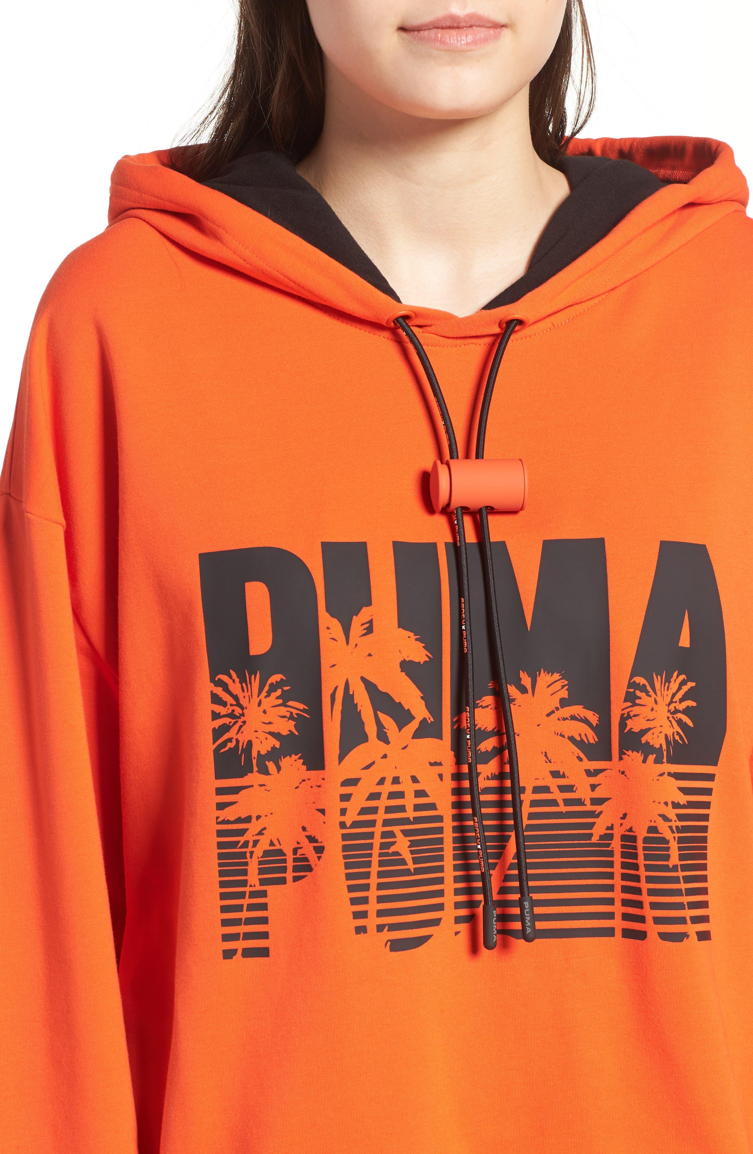 FENTY PUMA by Rihanna Back Zip Logo Hoodie,                             Alternate thumbnail 4, color,                             Cherry Tomato