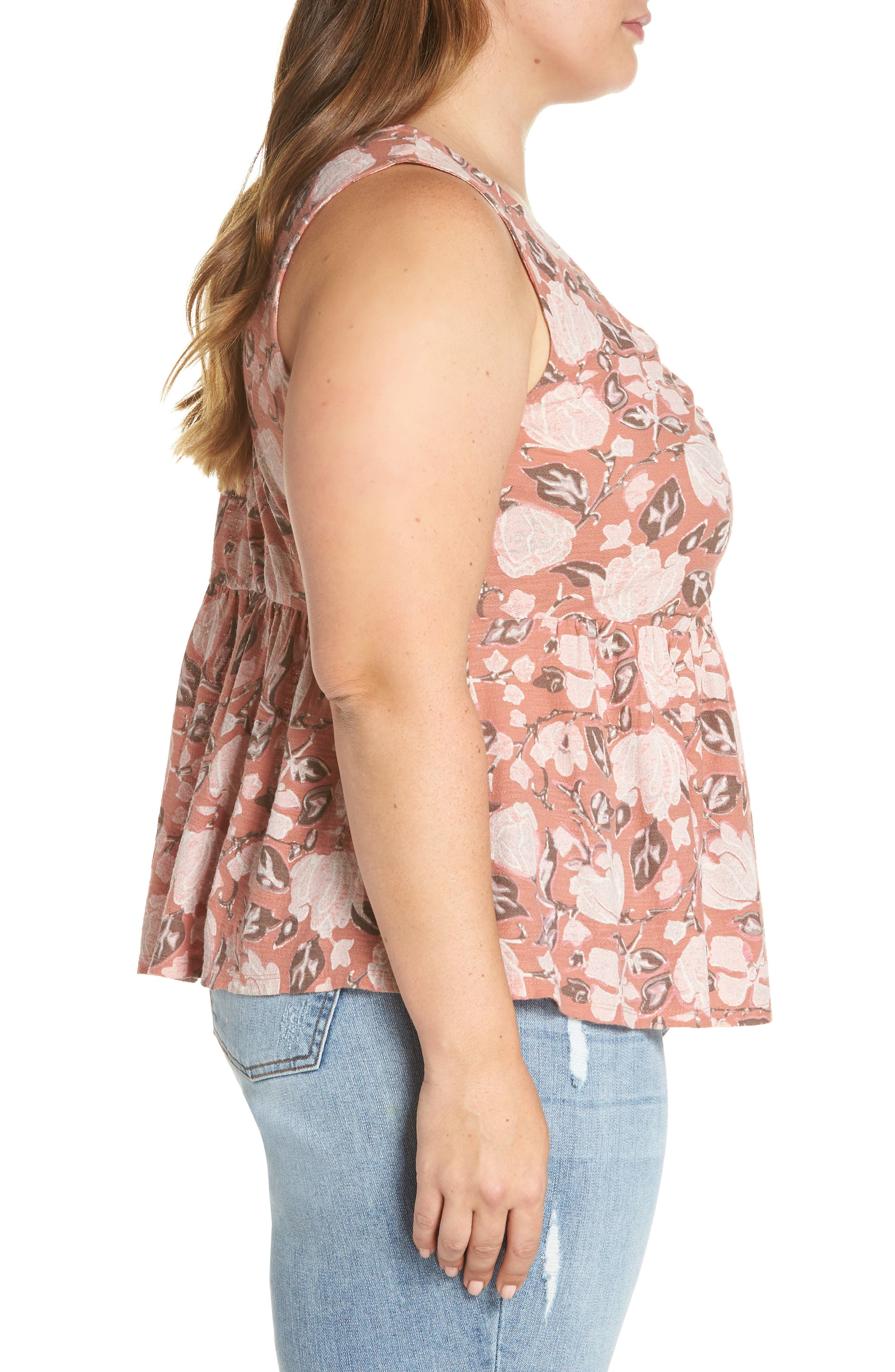 Floral Knot Neck Tank,                             Alternate thumbnail 3, color,                             Coral Multi