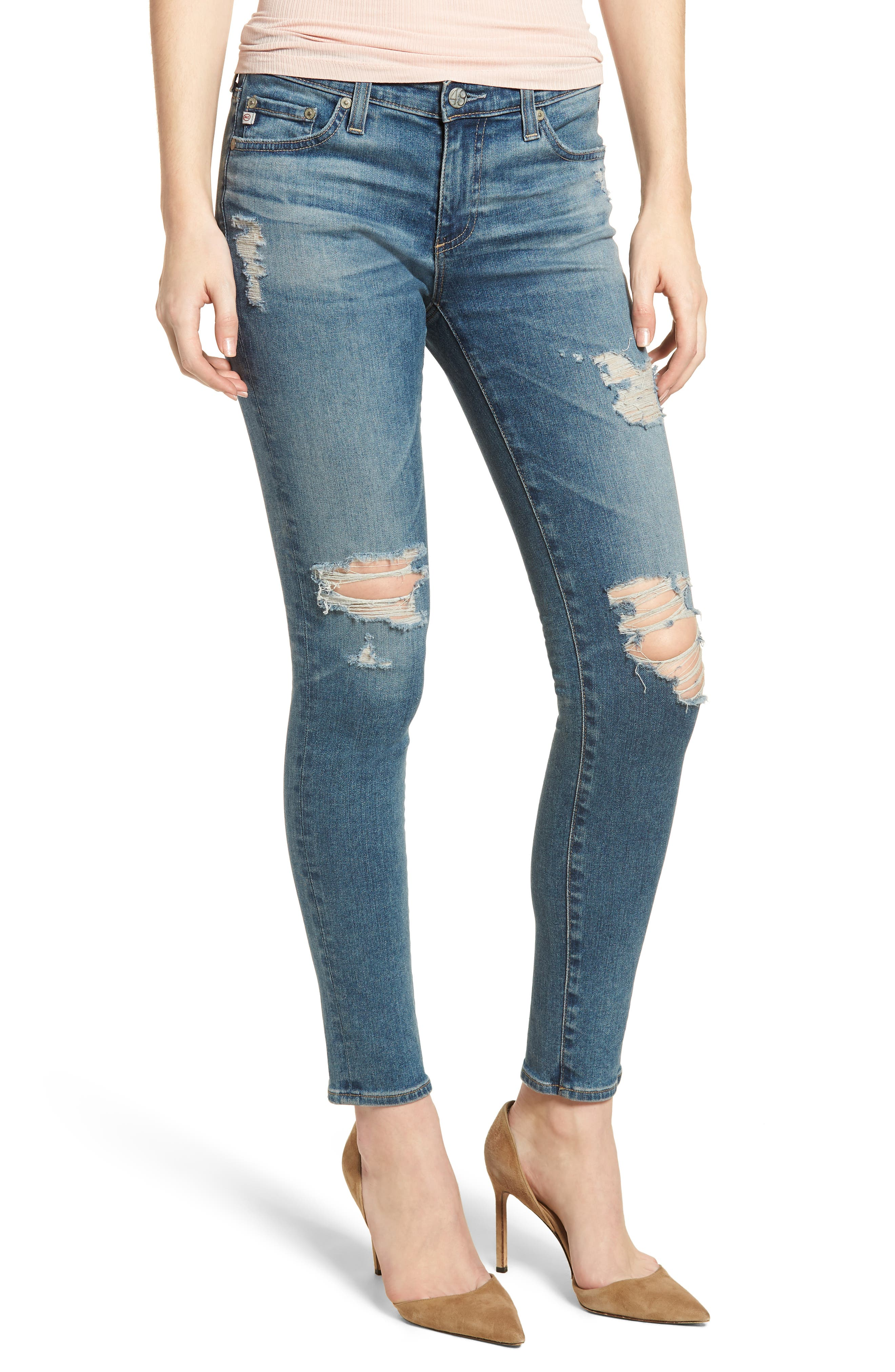 The Legging Ankle Super Skinny Jeans,                             Main thumbnail 1, color,                             13 Years Pacifica Destructed