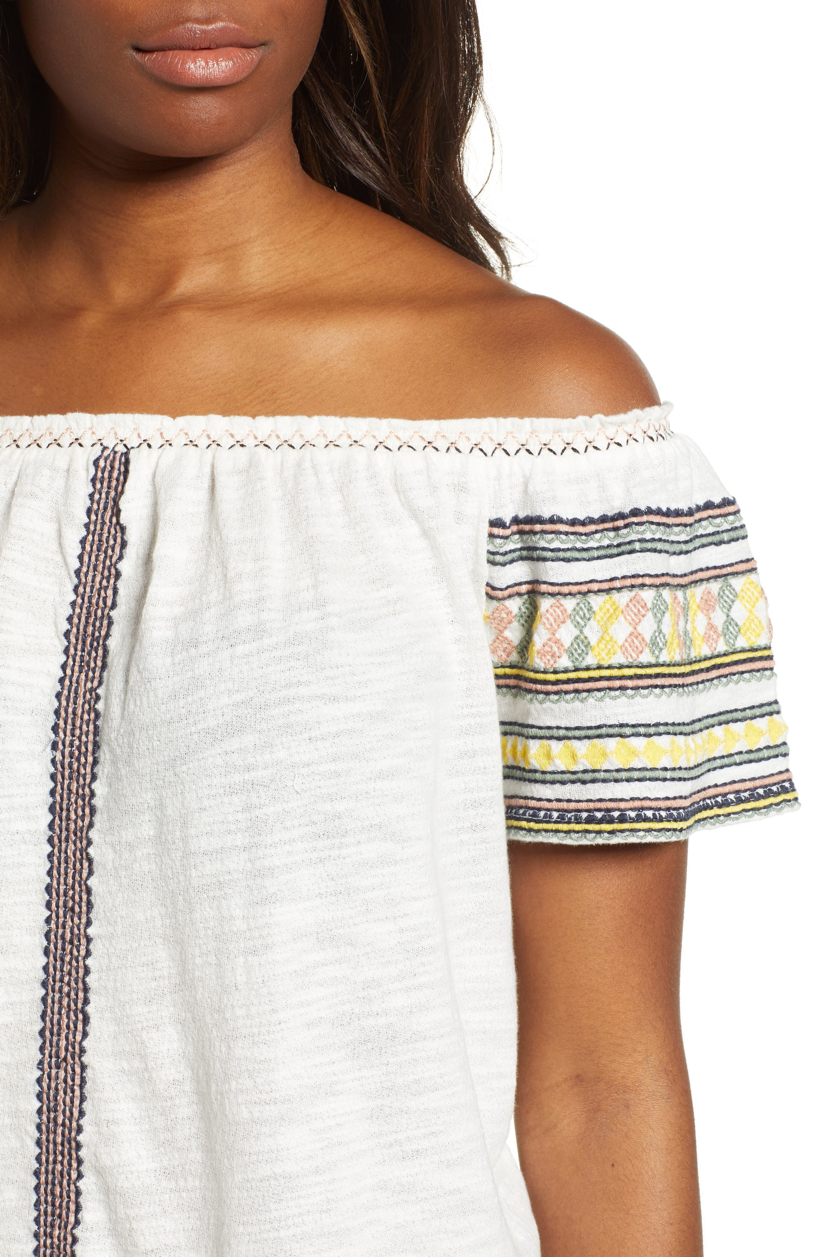Lucky Embroidered Off The Shoulder Cotton Top,                             Alternate thumbnail 4, color,                             Marshmallow