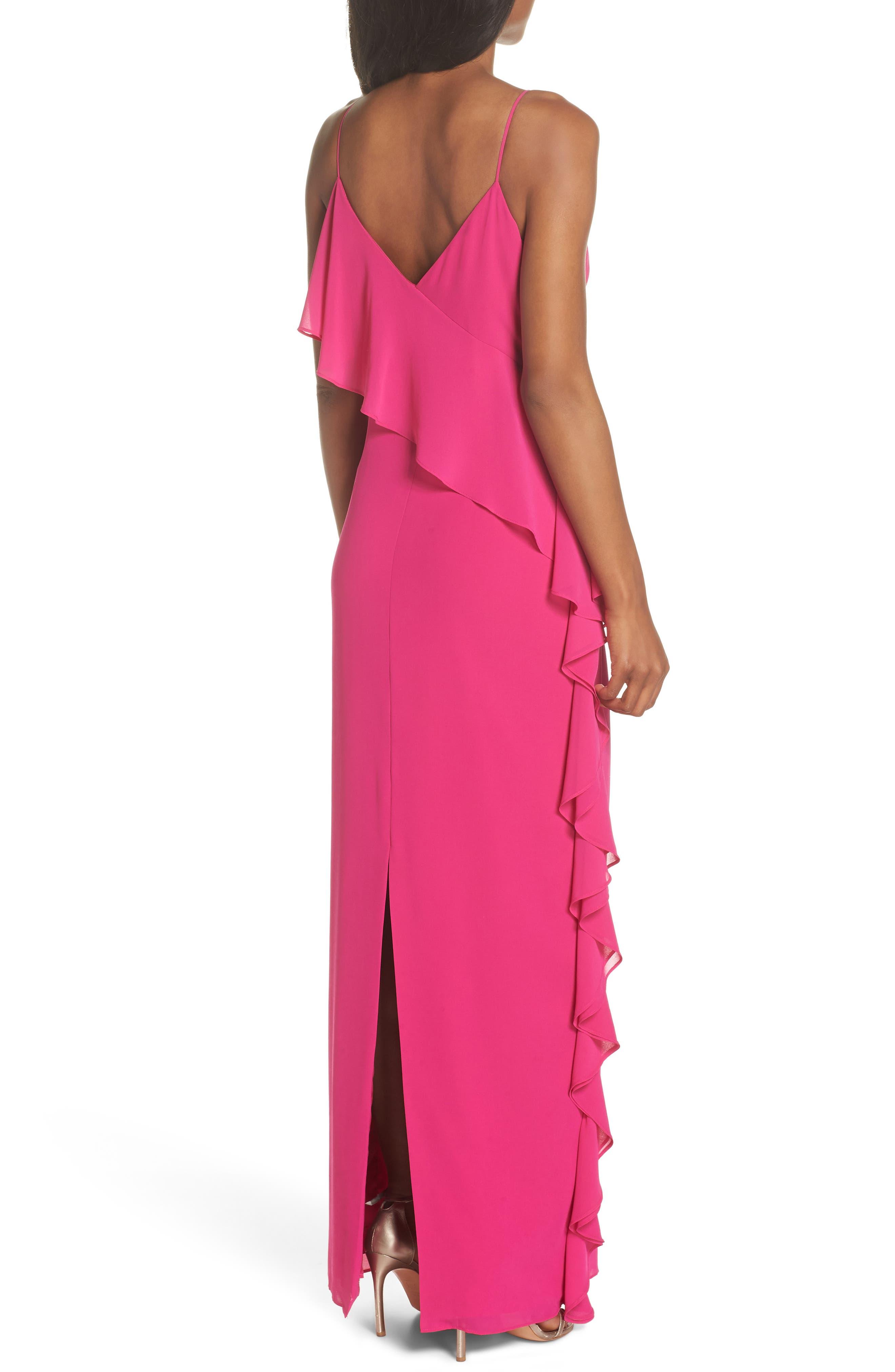 Asymmetrical Ruffle Column Gown,                             Alternate thumbnail 2, color,                             Fuchsia
