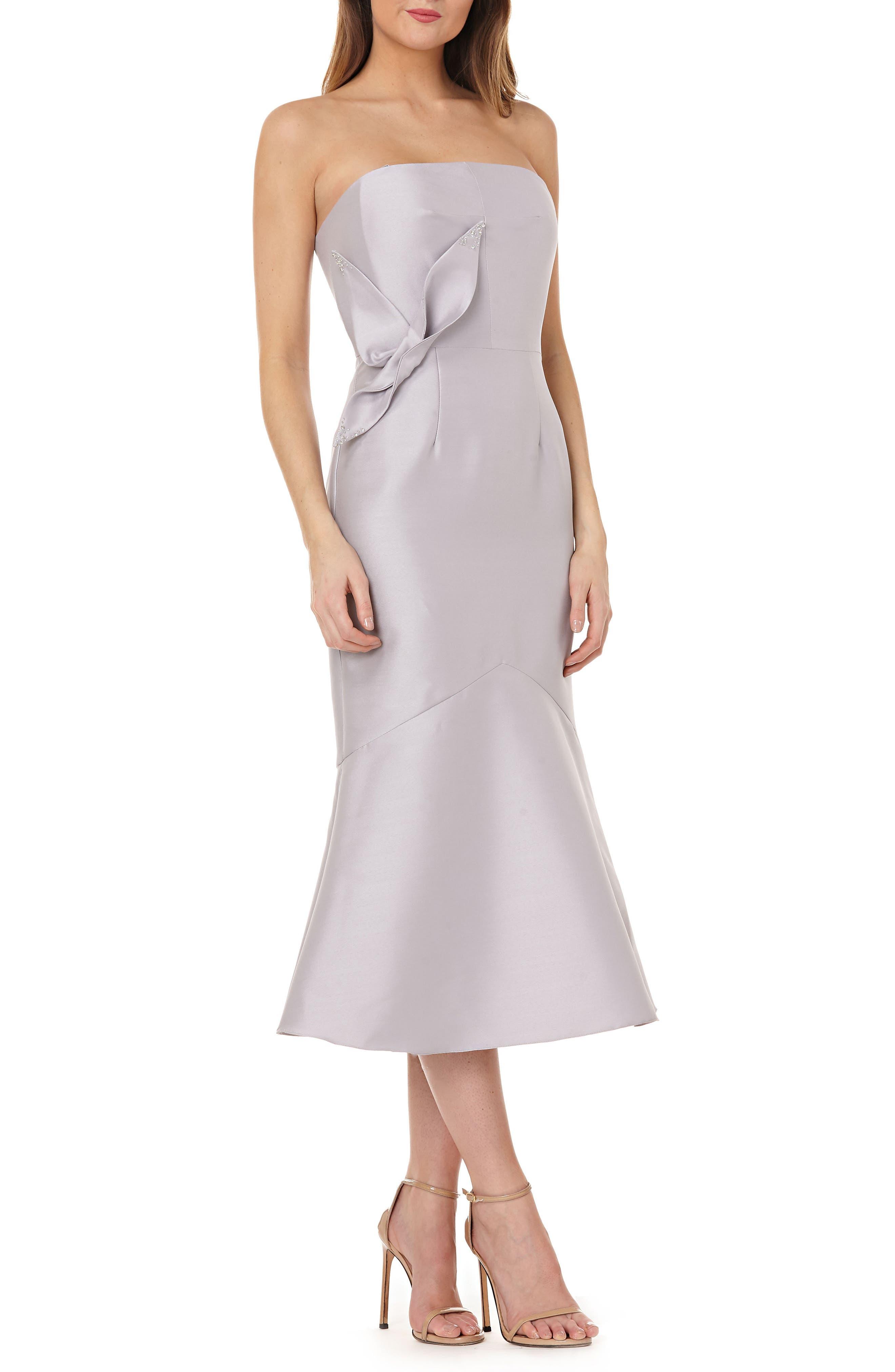 Strapless Satin Tea Length Dress,                             Main thumbnail 1, color,                             Dove Grey