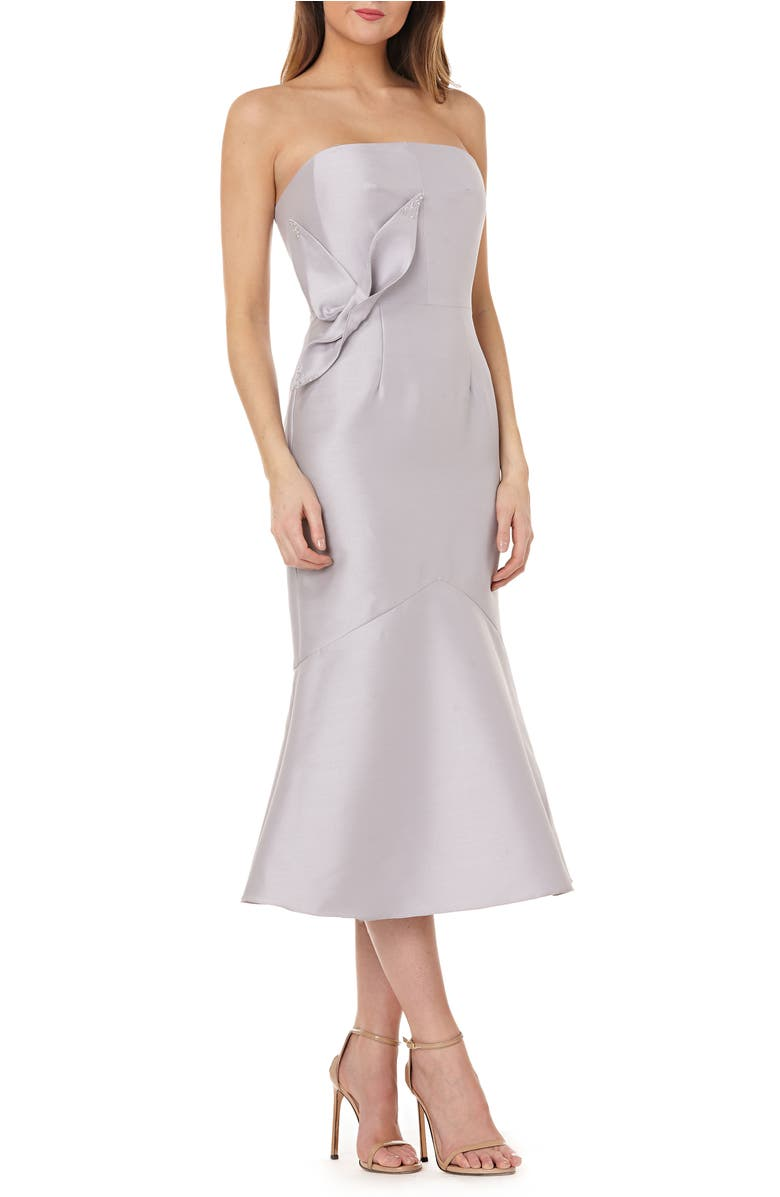 Kay Unger STRAPLESS SATIN TEA LENGTH DRESS