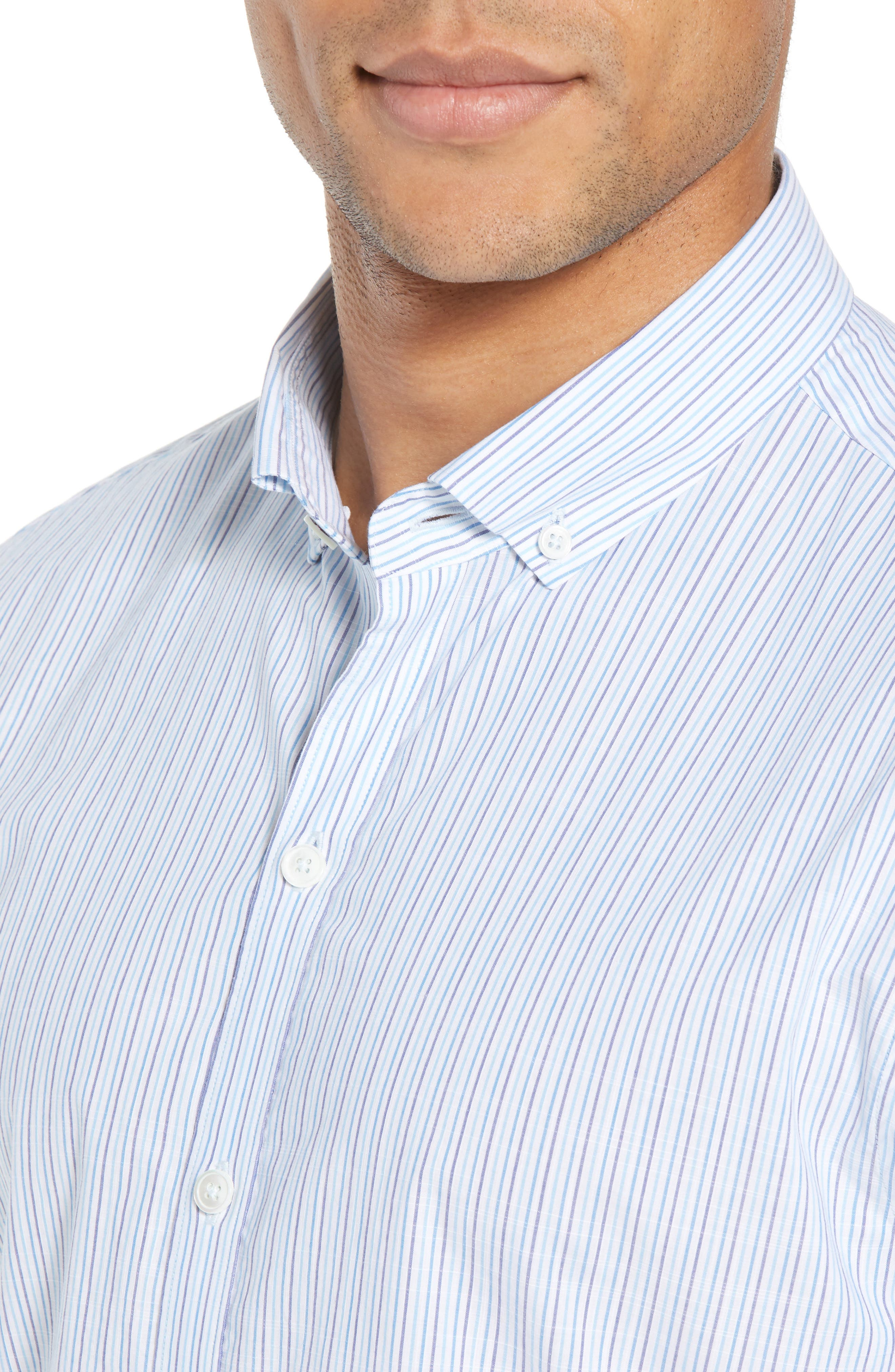 Skeeter Stripe Sport Shirt,                             Alternate thumbnail 2, color,                             Aqua