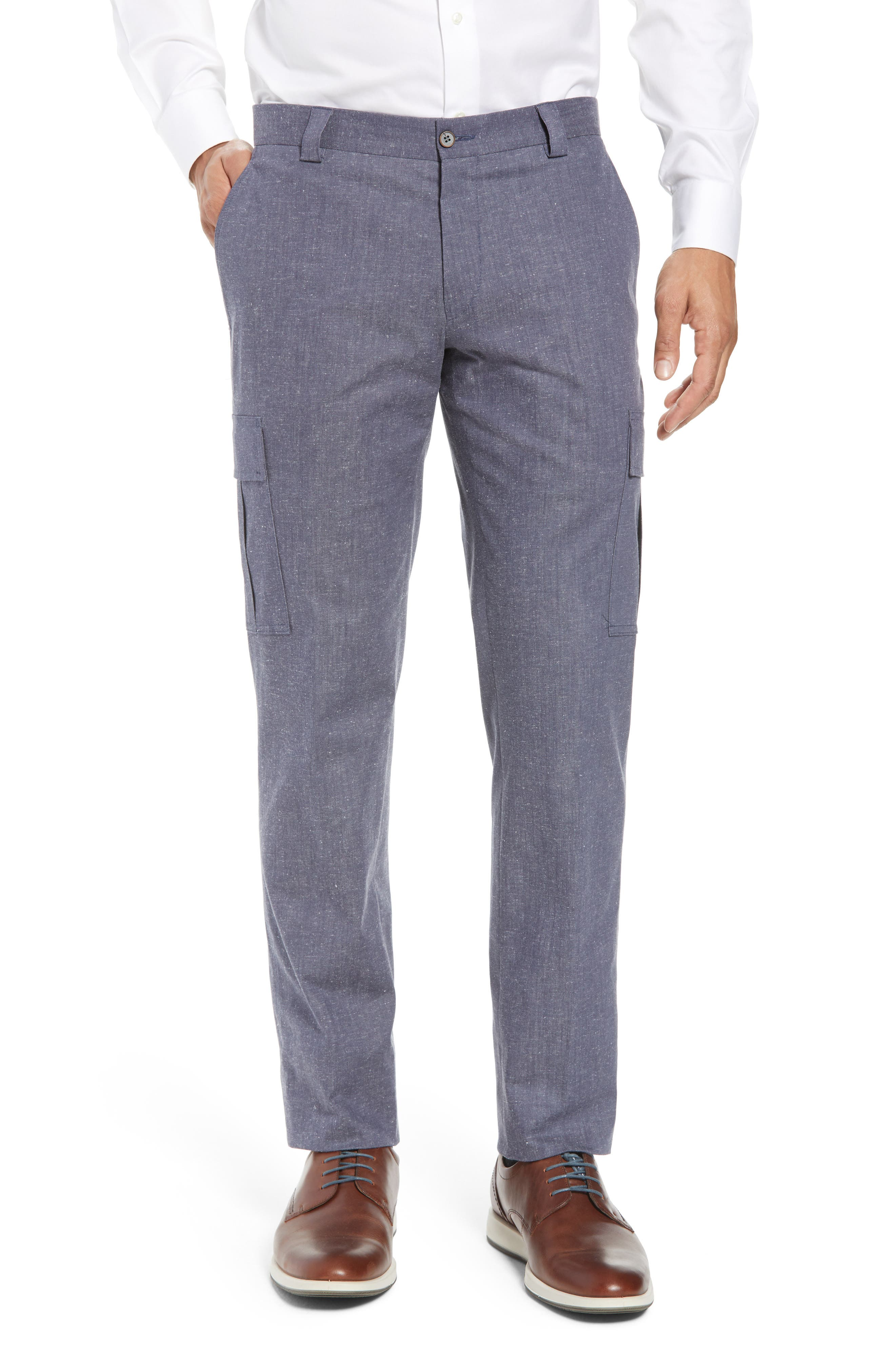 Hickey Freeman Flat Front Stretch Cotton & Linen Cargo Trousers