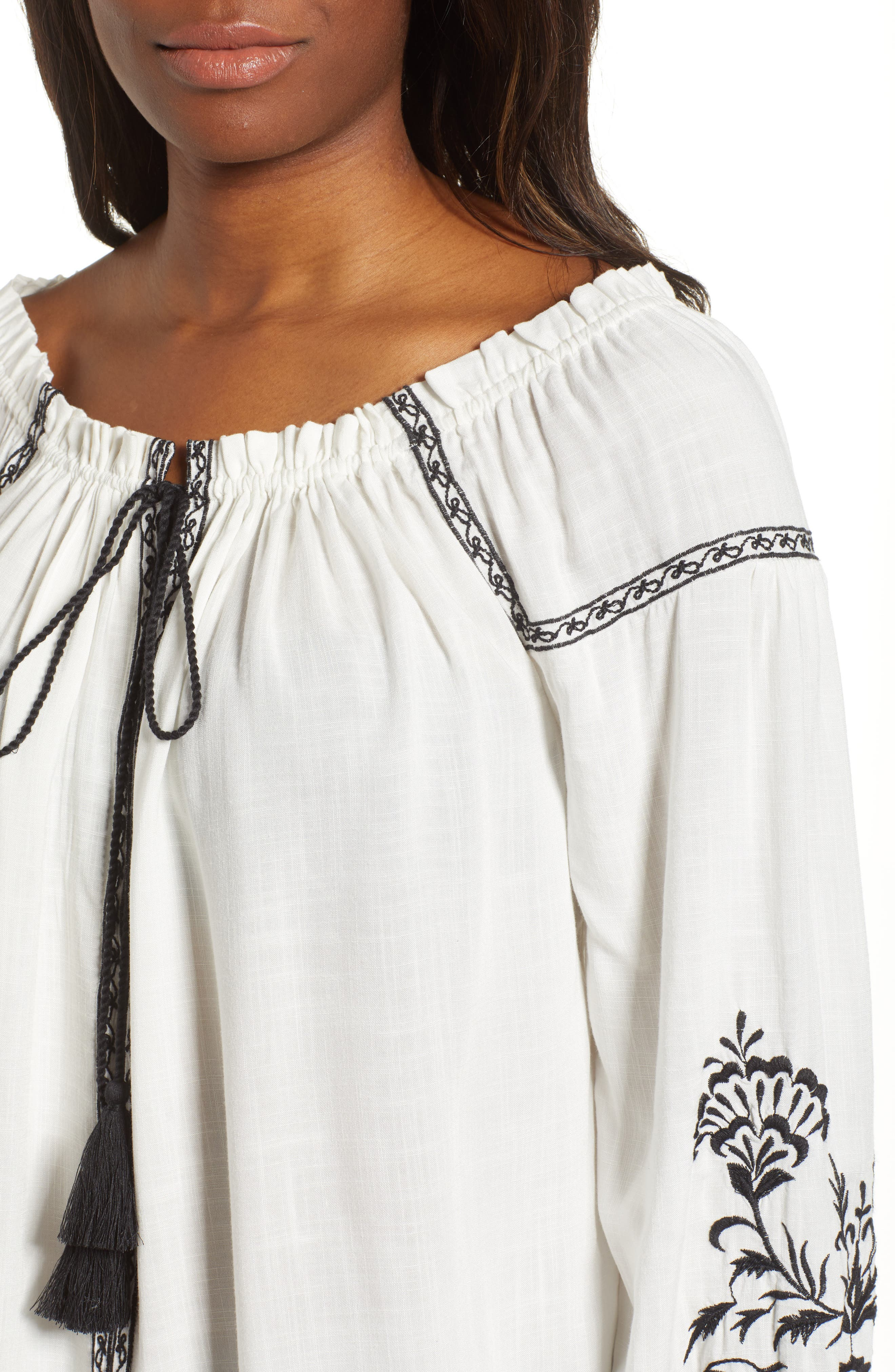 Embroidered Peasant Top,                             Alternate thumbnail 4, color,                             White Multi