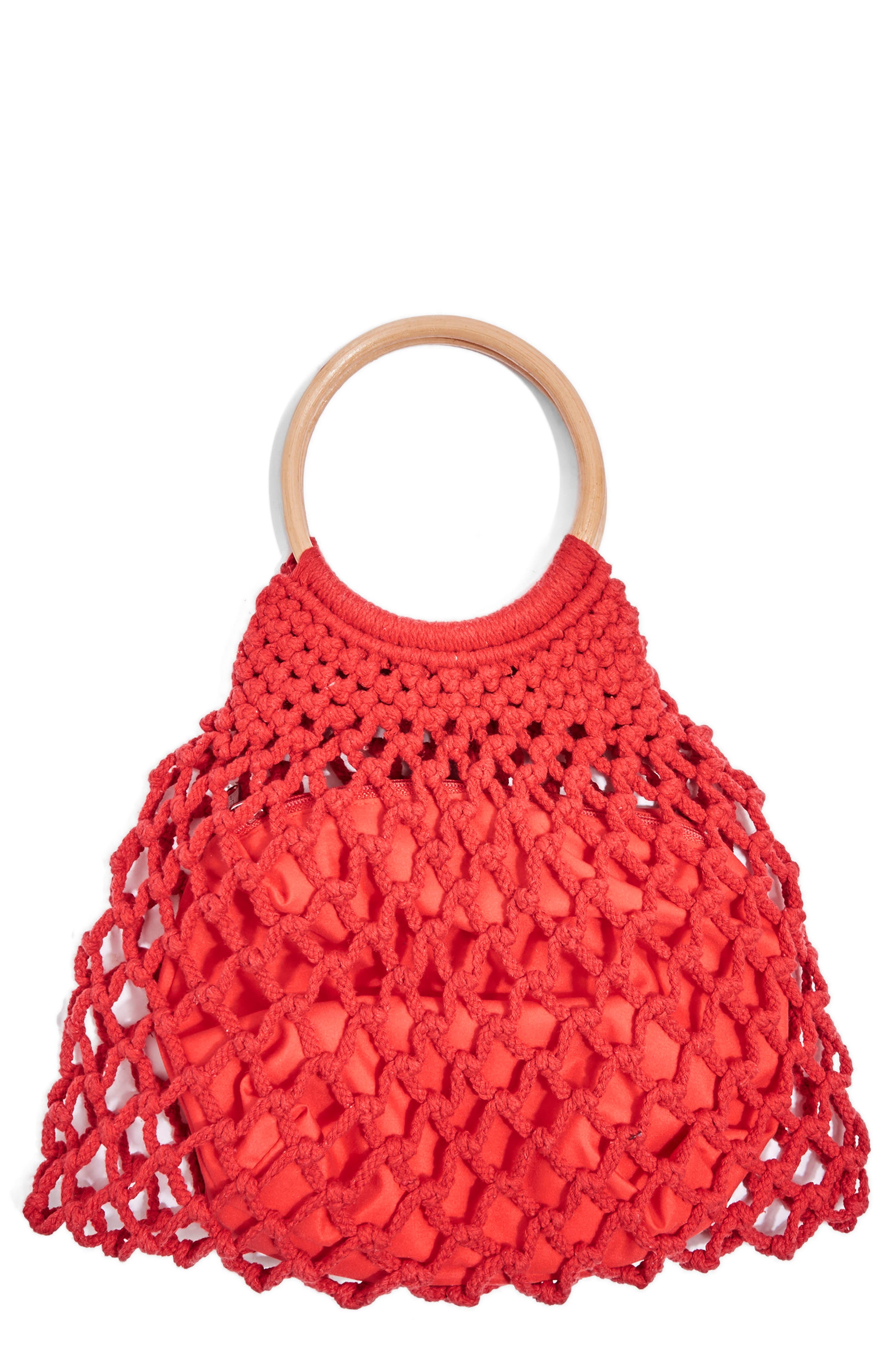 Benny String Shopper Bag,                             Main thumbnail 1, color,                             Red