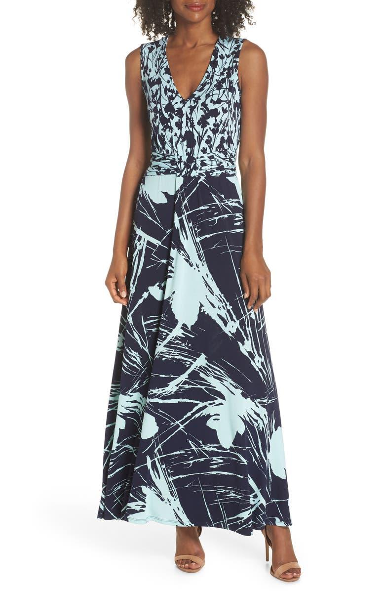 Nicole Print V-Neck Maxi Dress