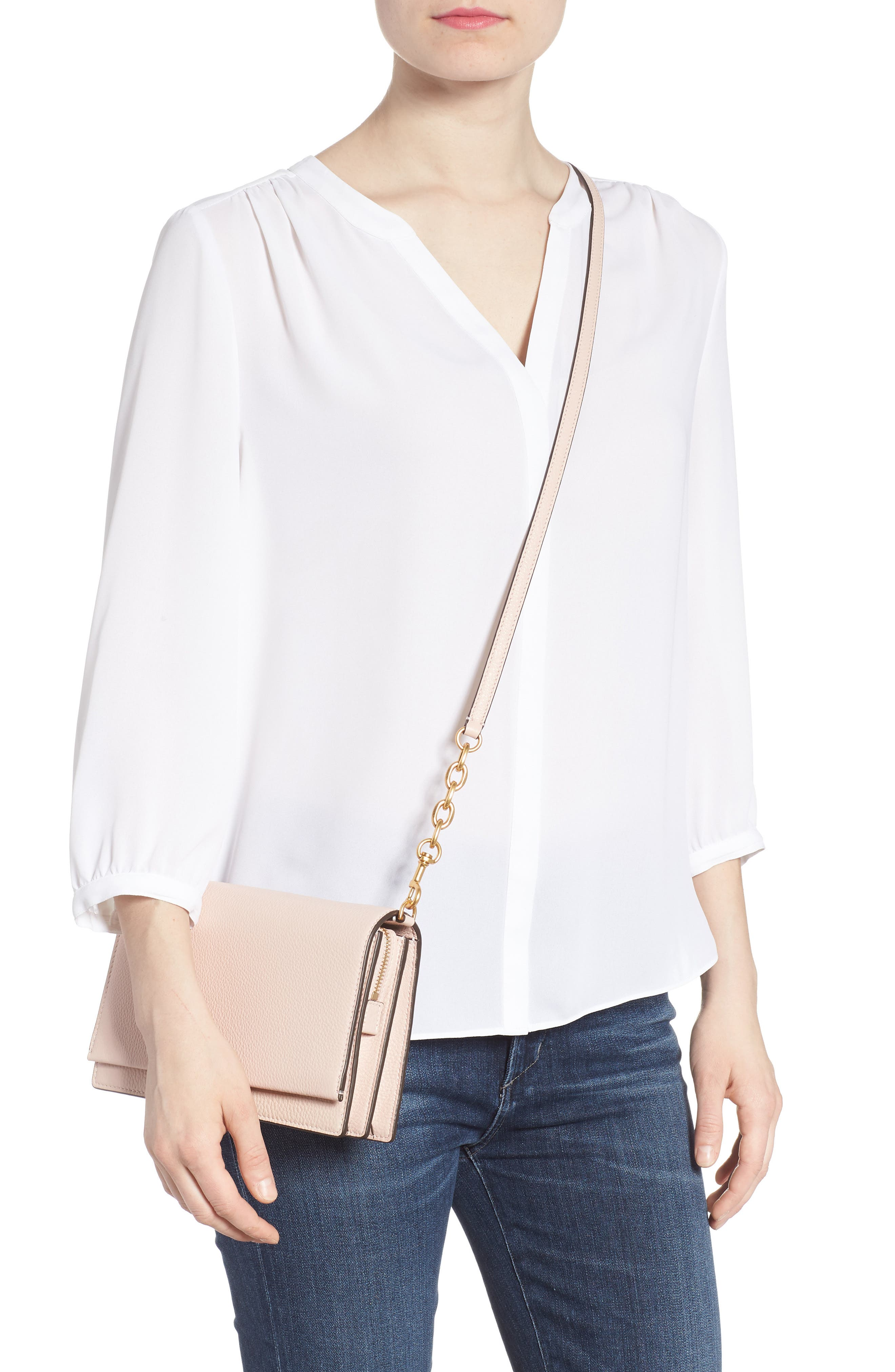Georgia Pebble Leather Shoulder Bag,                             Alternate thumbnail 2, color,                             Shell Pink