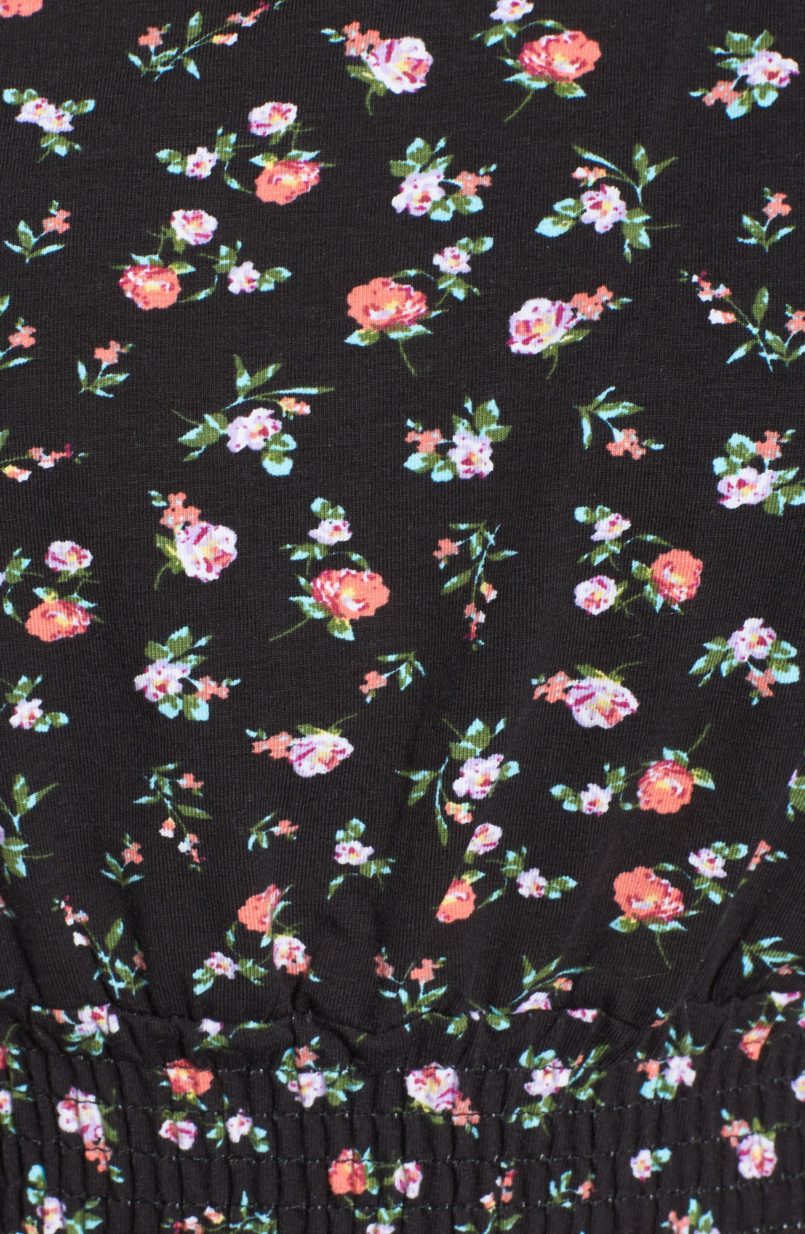 Floral Print Smock Waist Top,                             Alternate thumbnail 6, color,                             Blackground Floral