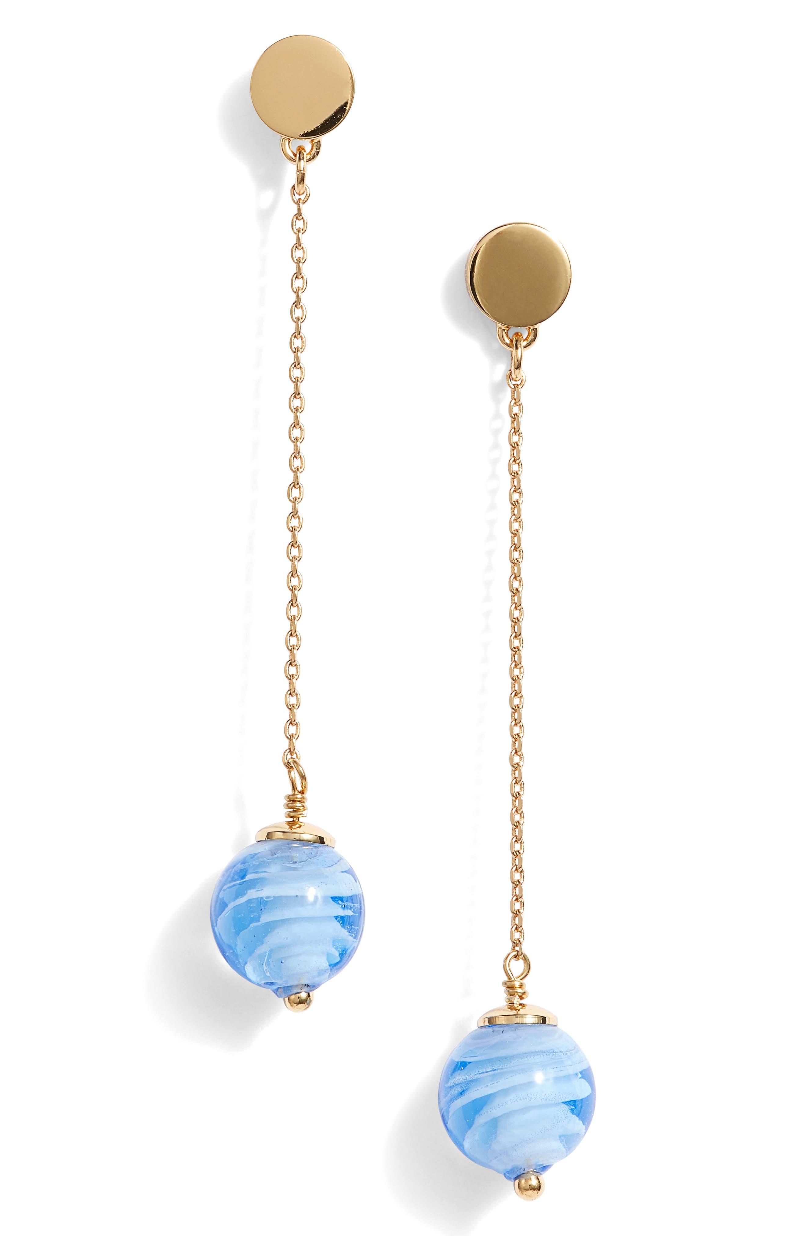 flying colors linear earrings,                             Main thumbnail 1, color,                             Blue