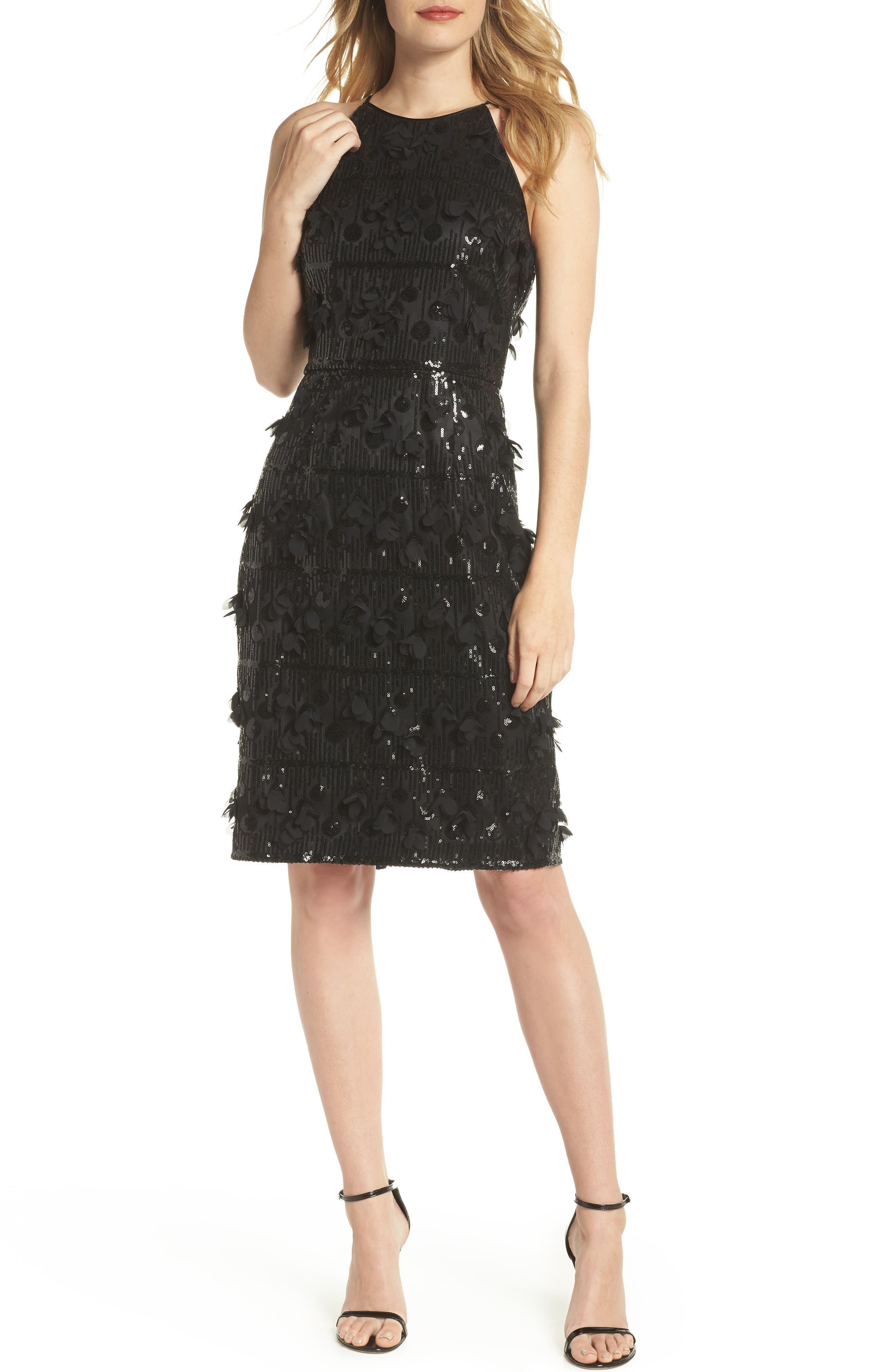 3D Floral & Sequin Cocktail Dress,                             Main thumbnail 1, color,                             Black