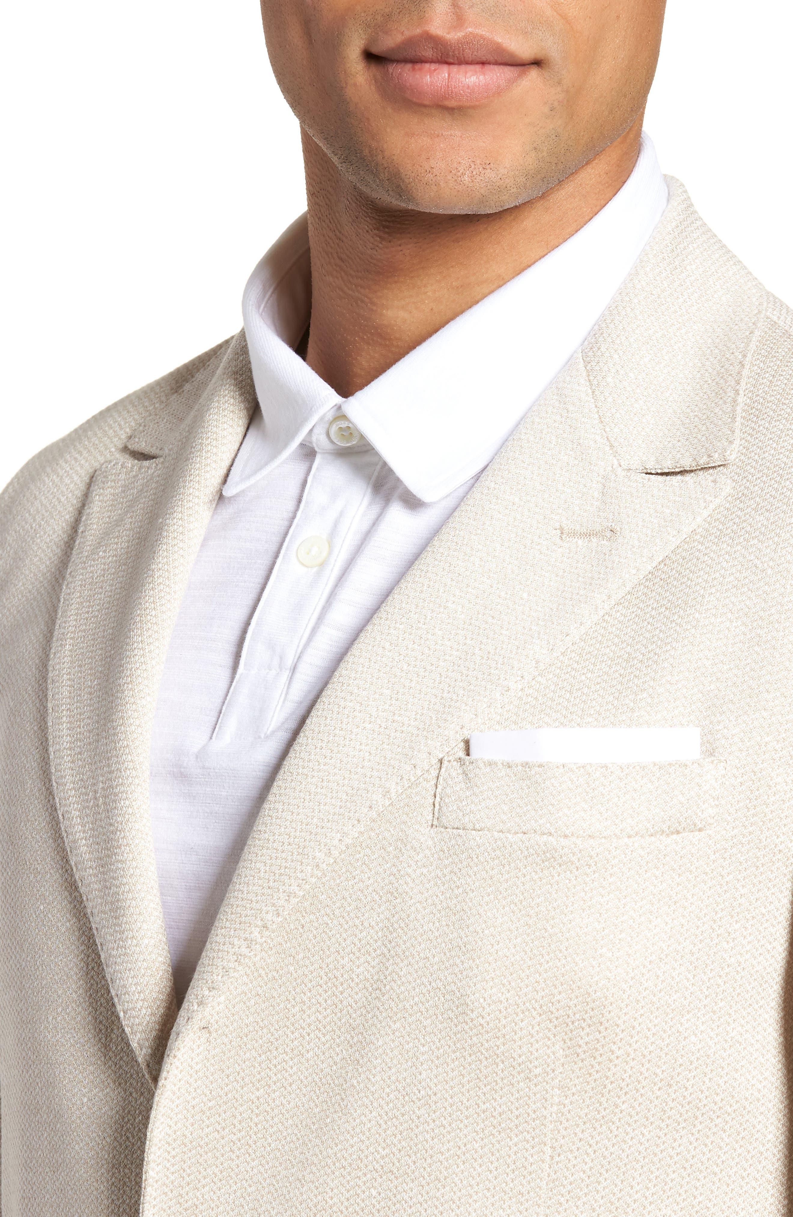 Jersey Trim Fit Linen & Cotton Blazer,                             Alternate thumbnail 4, color,                             Sand