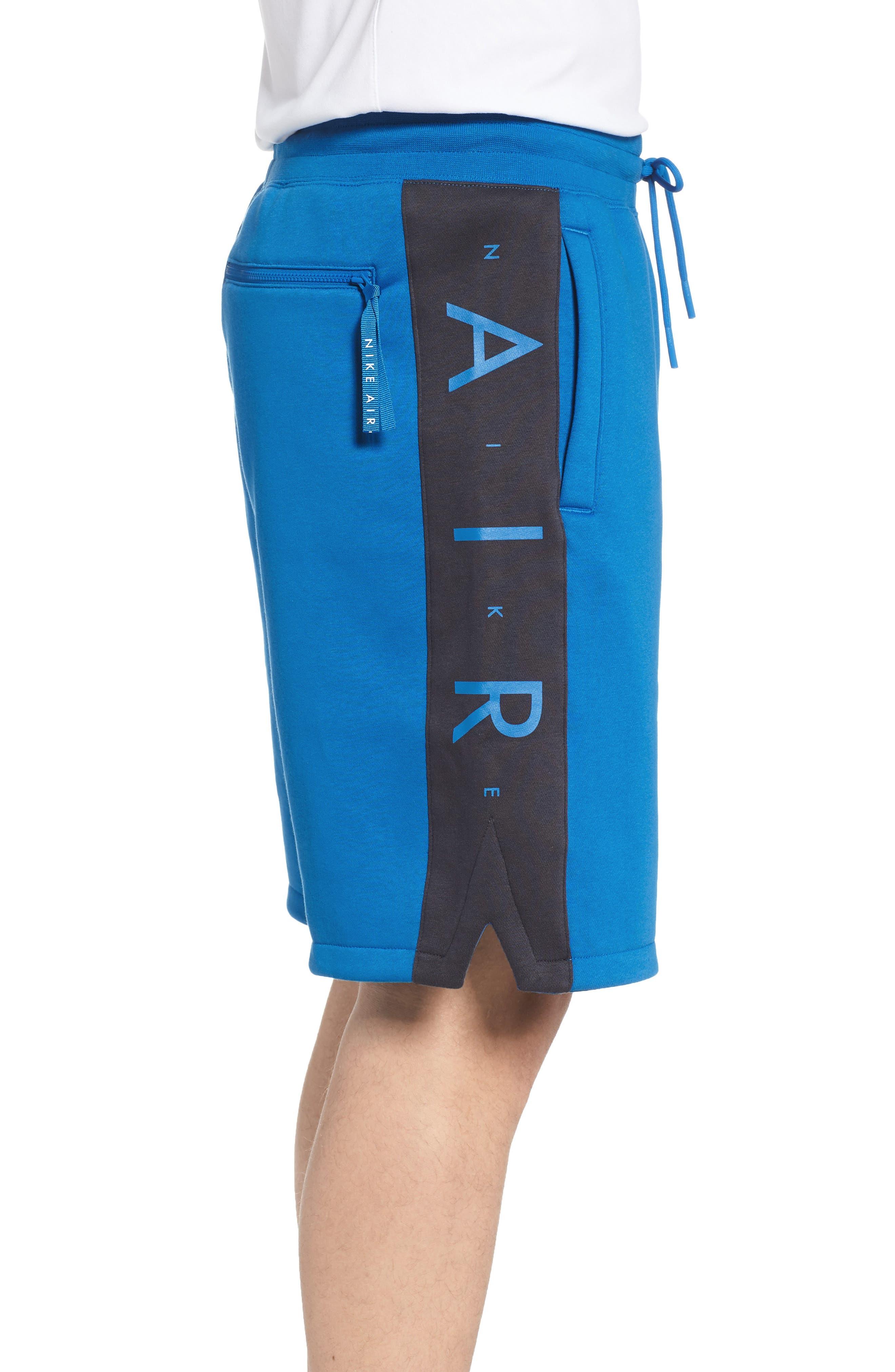Sportswear Air Fleece Shorts,                             Alternate thumbnail 3, color,                             Blue Nebula/ Anthracite/ White