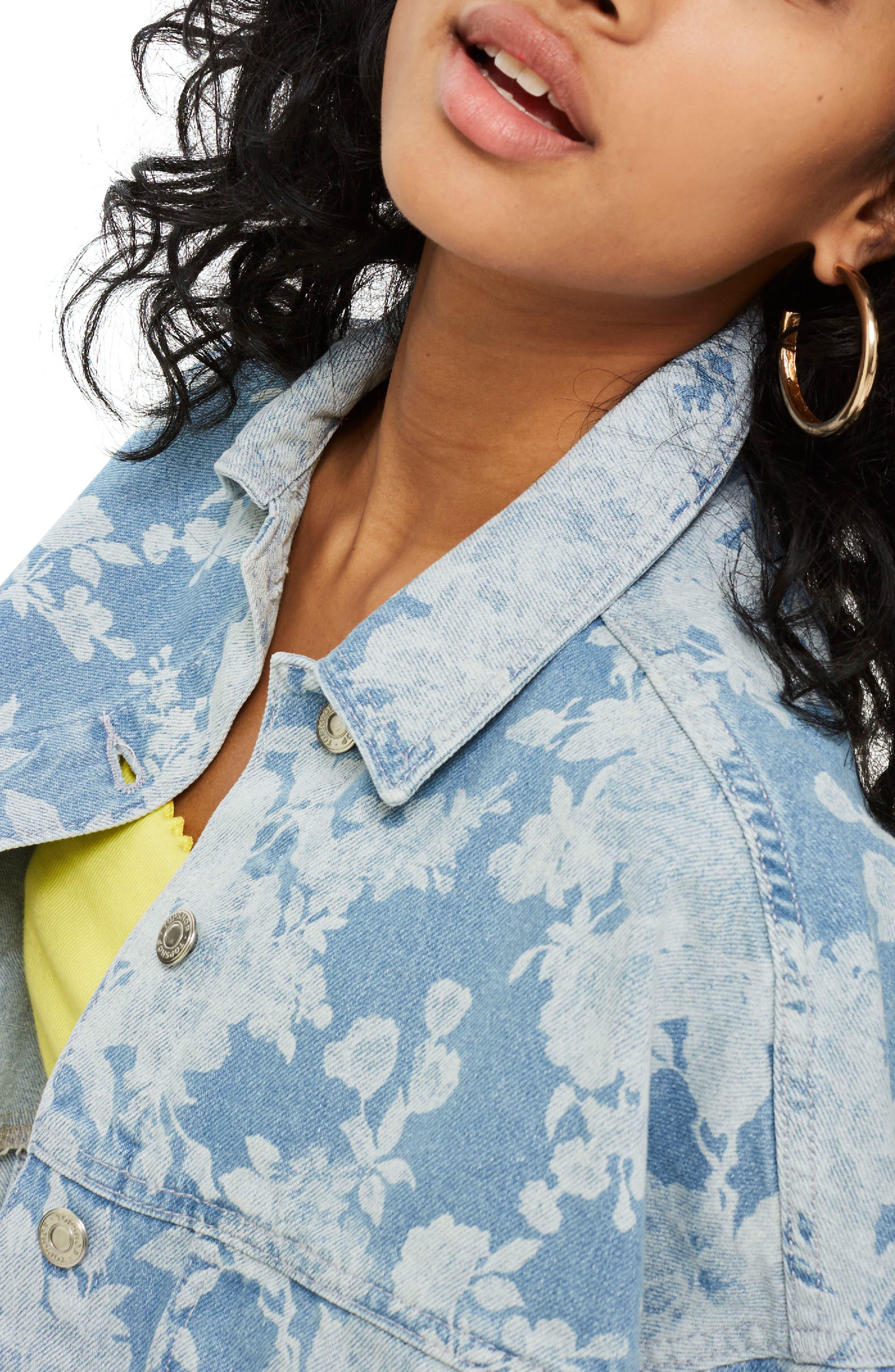 Floral Moto Two-Tone Denim Jacket,                             Alternate thumbnail 4, color,                             Mid Denim Multi