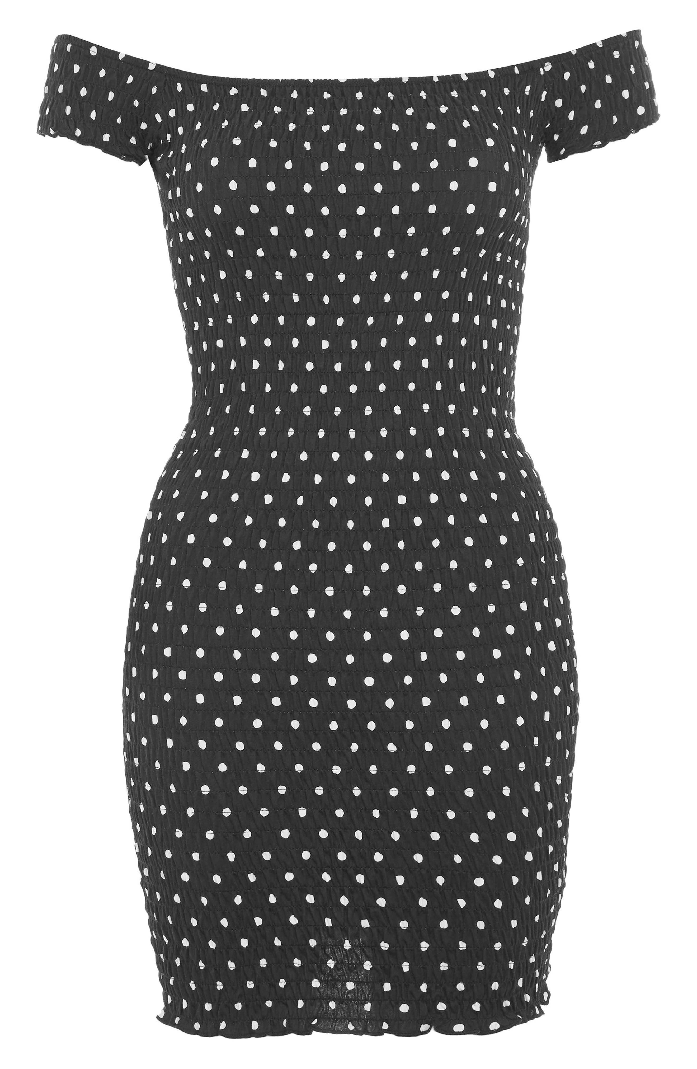Spot Shirred Body-Con Dress,                             Alternate thumbnail 4, color,                             Black Multi