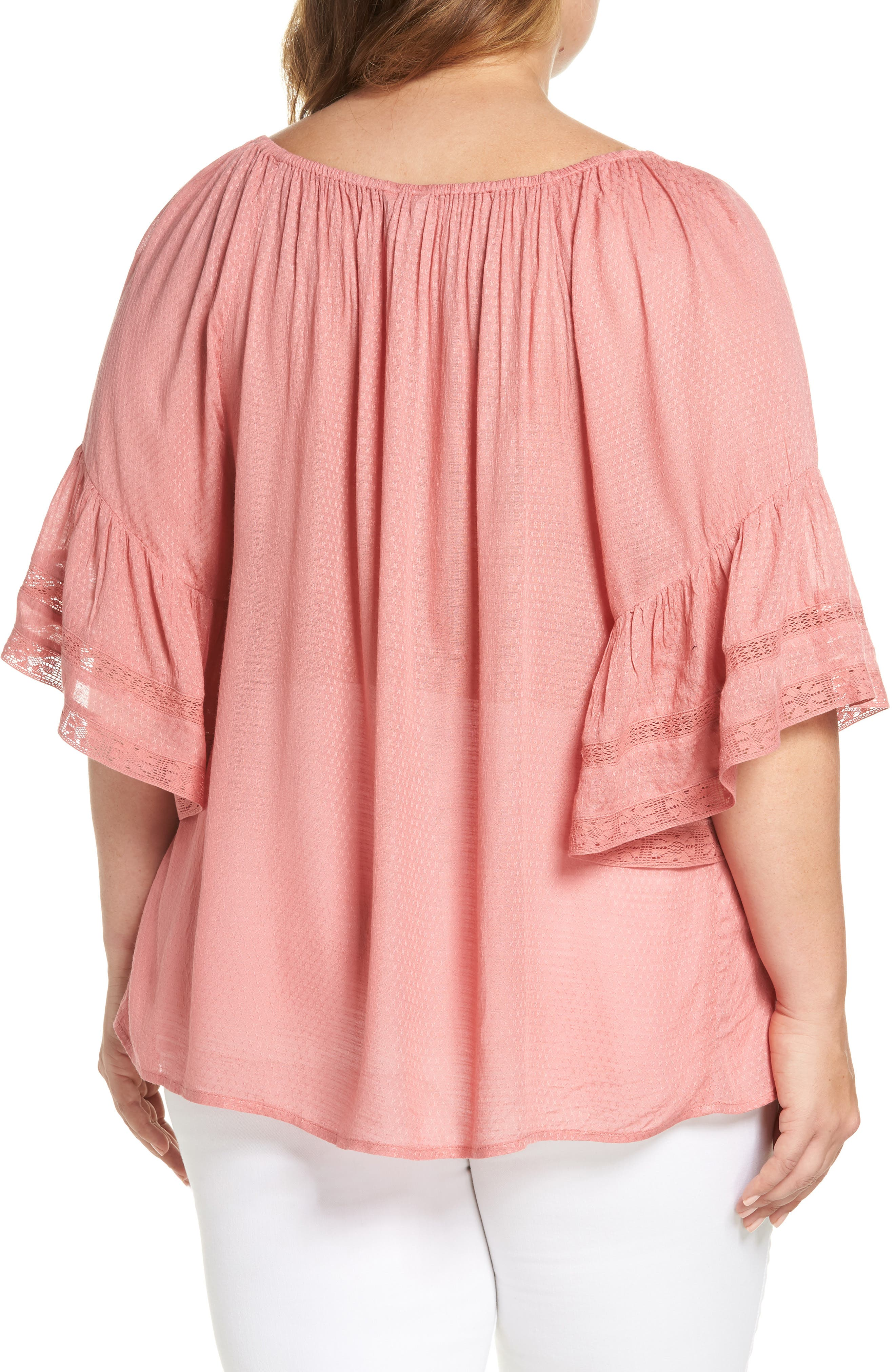Bell Sleeve Peasant Top,                             Alternate thumbnail 2, color,                             Rose