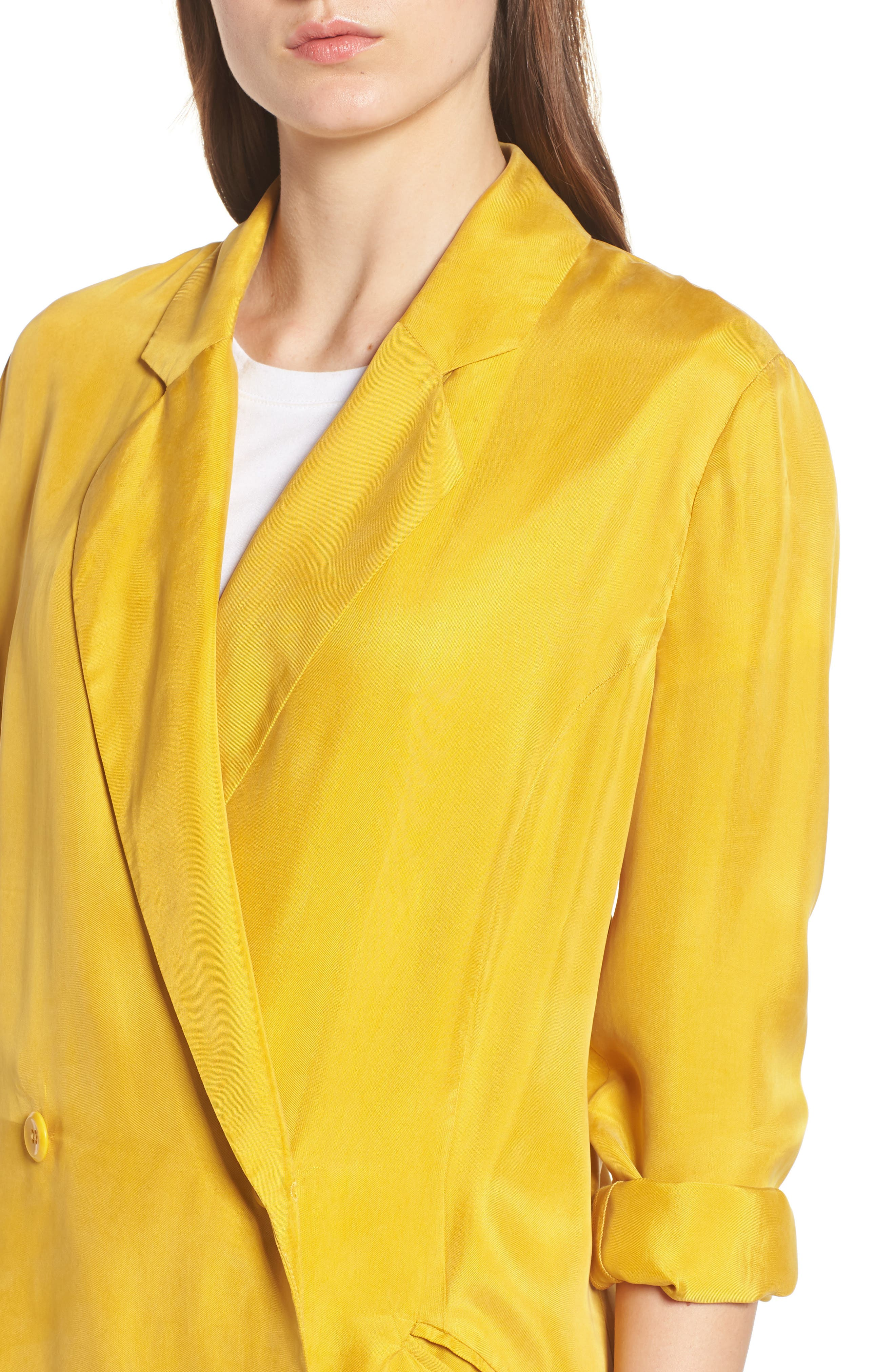 Double Breasted Longline Blazer,                             Alternate thumbnail 4, color,                             Yellow Nugget