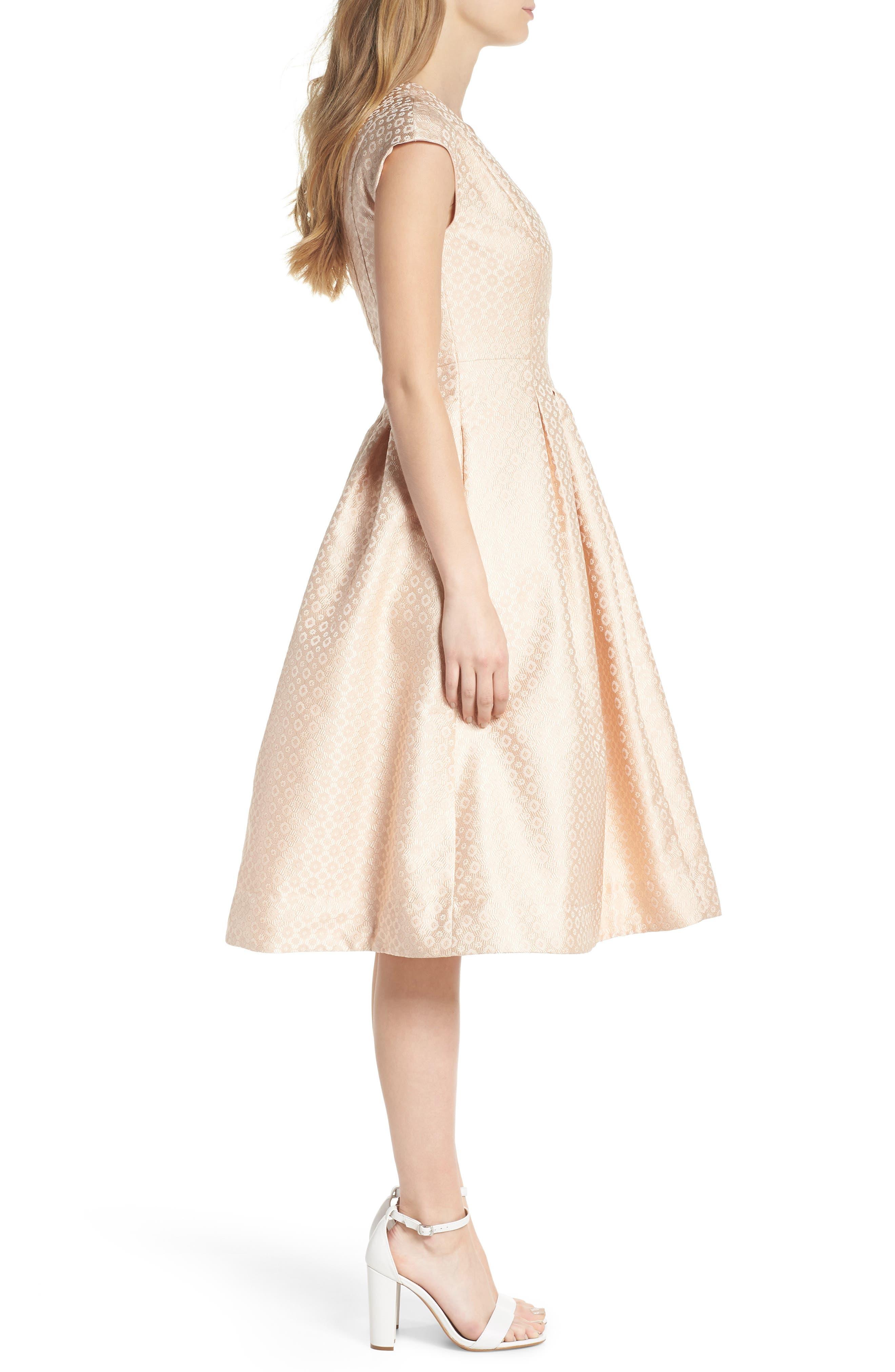 Grace Pleated Jacquard Fit & Flare Dress,                             Alternate thumbnail 4, color,                             Cream