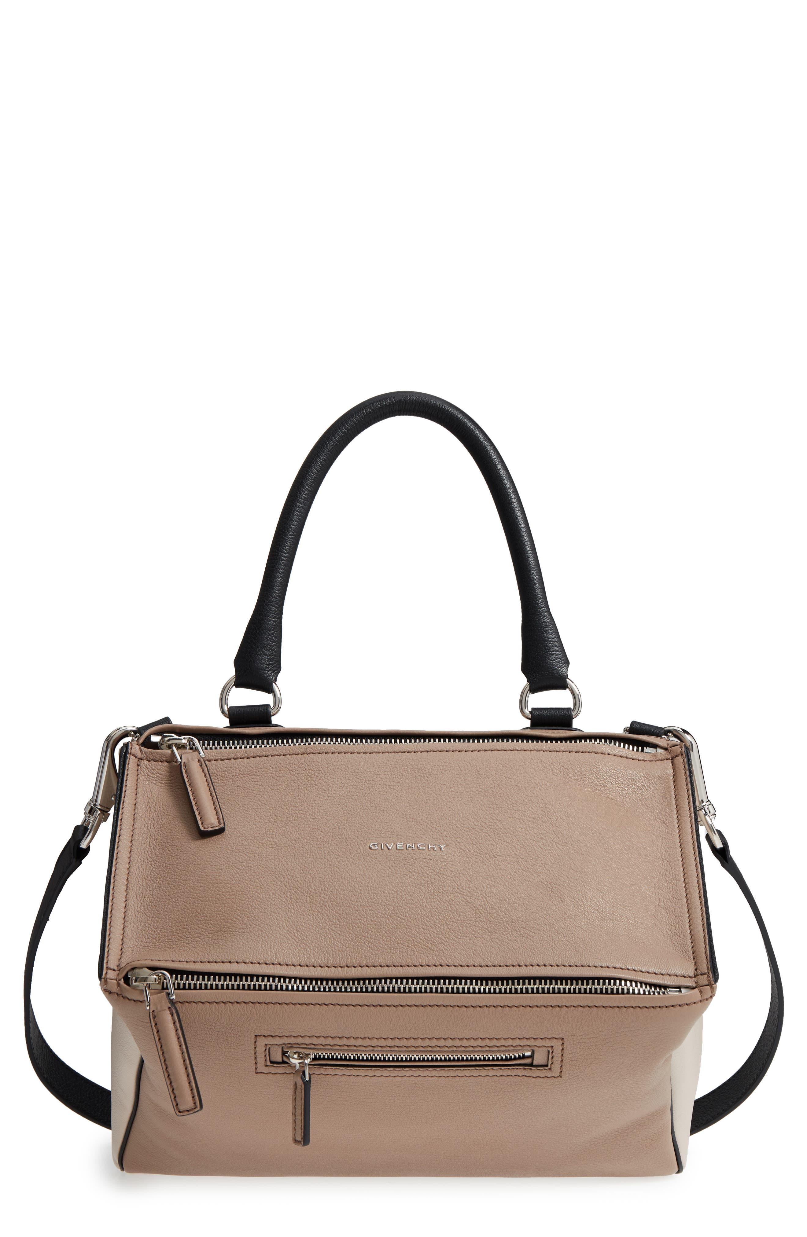 Medium Pandora Box Tricolor Leather Crossbody Bag,                         Main,                         color, Linen