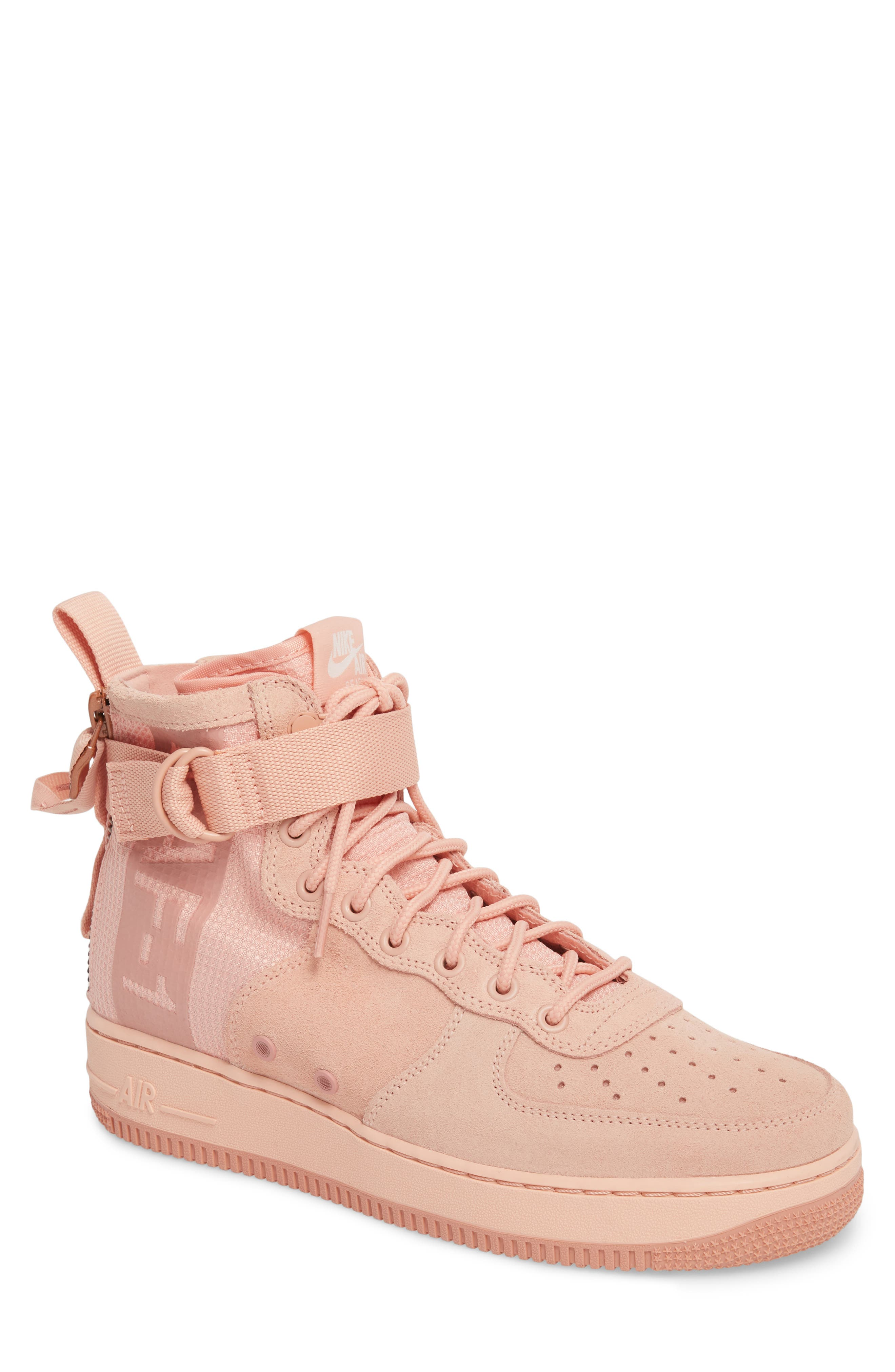SF Air Force 1 Mid Suede Sneaker,                             Main thumbnail 1, color,                             Coral Stardust/ Red Stardust
