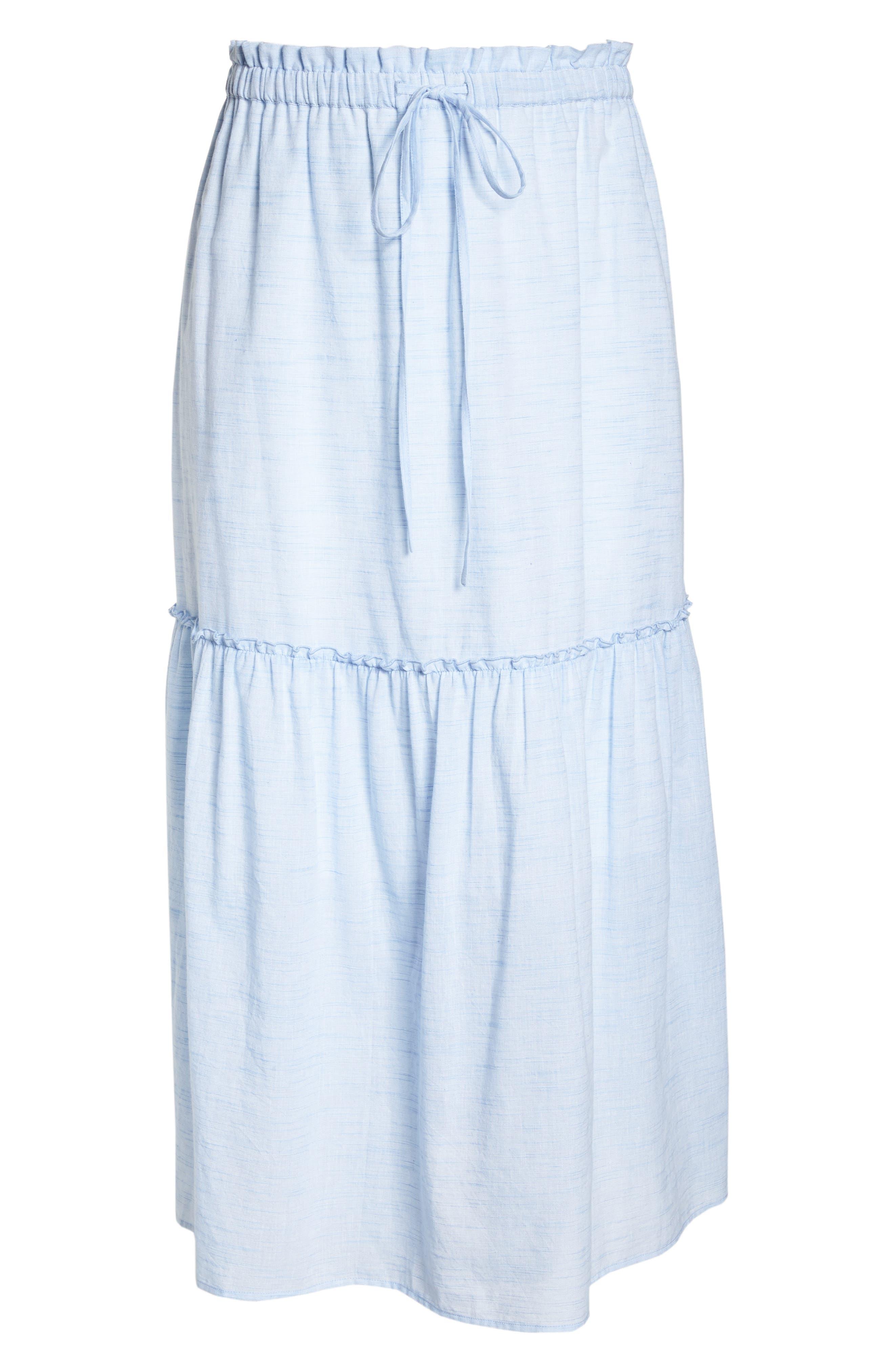 Ruffle Hem Maxi Skirt,                             Alternate thumbnail 6, color,                             Blue- White Pattern
