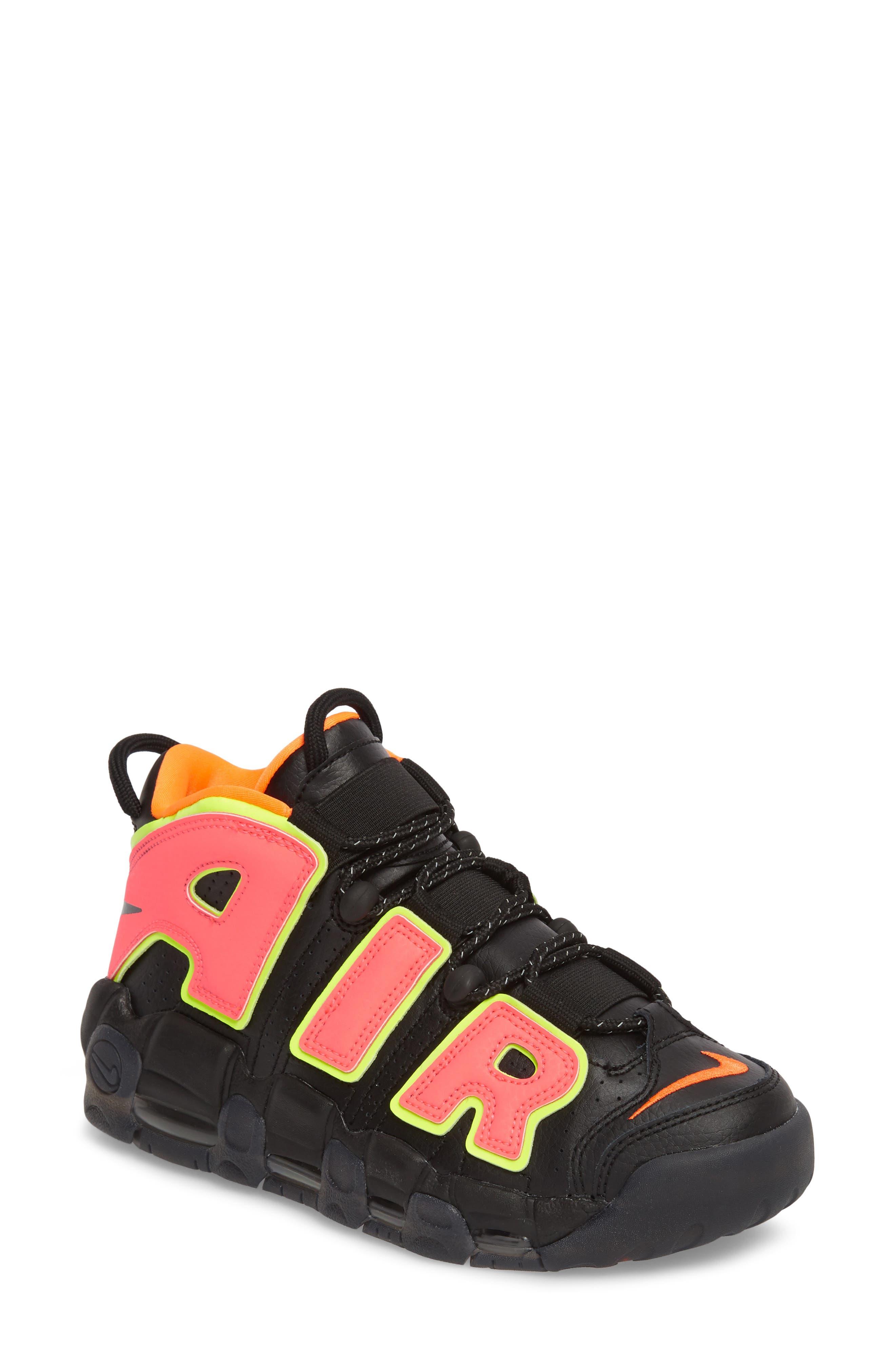 Air More Uptempo Sneaker,                         Main,                         color, Black/ Punch/ Total Orange