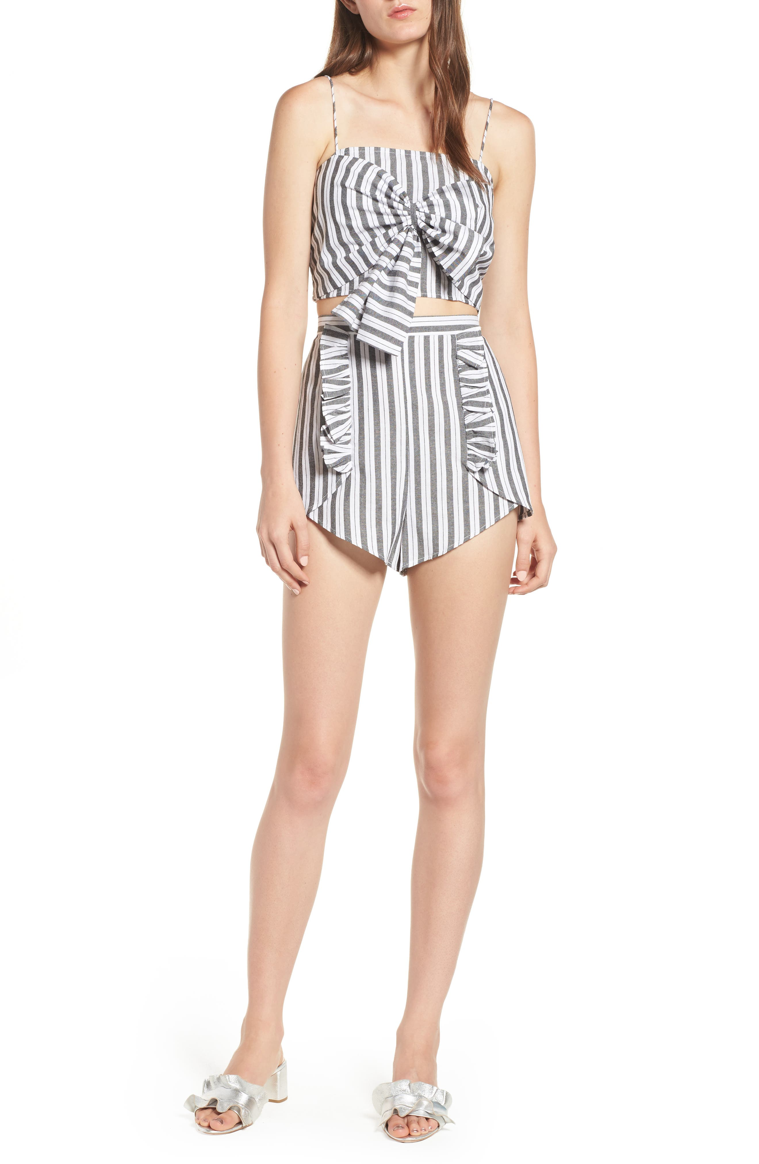 Acacia Stripe High Waist Shorts,                             Alternate thumbnail 8, color,                             Black W White