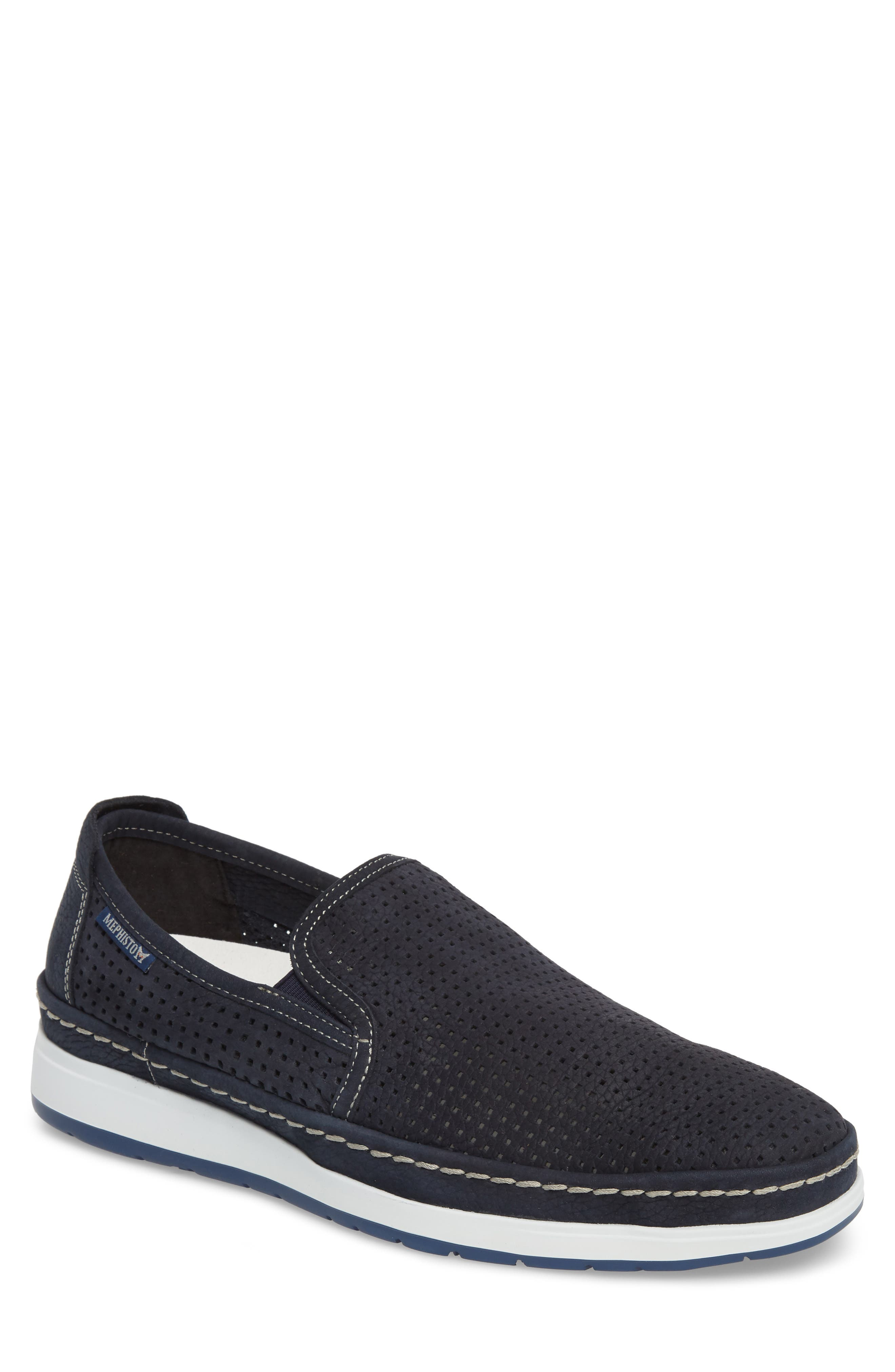 Hadrian Perforated Slip-On,                         Main,                         color, Navy