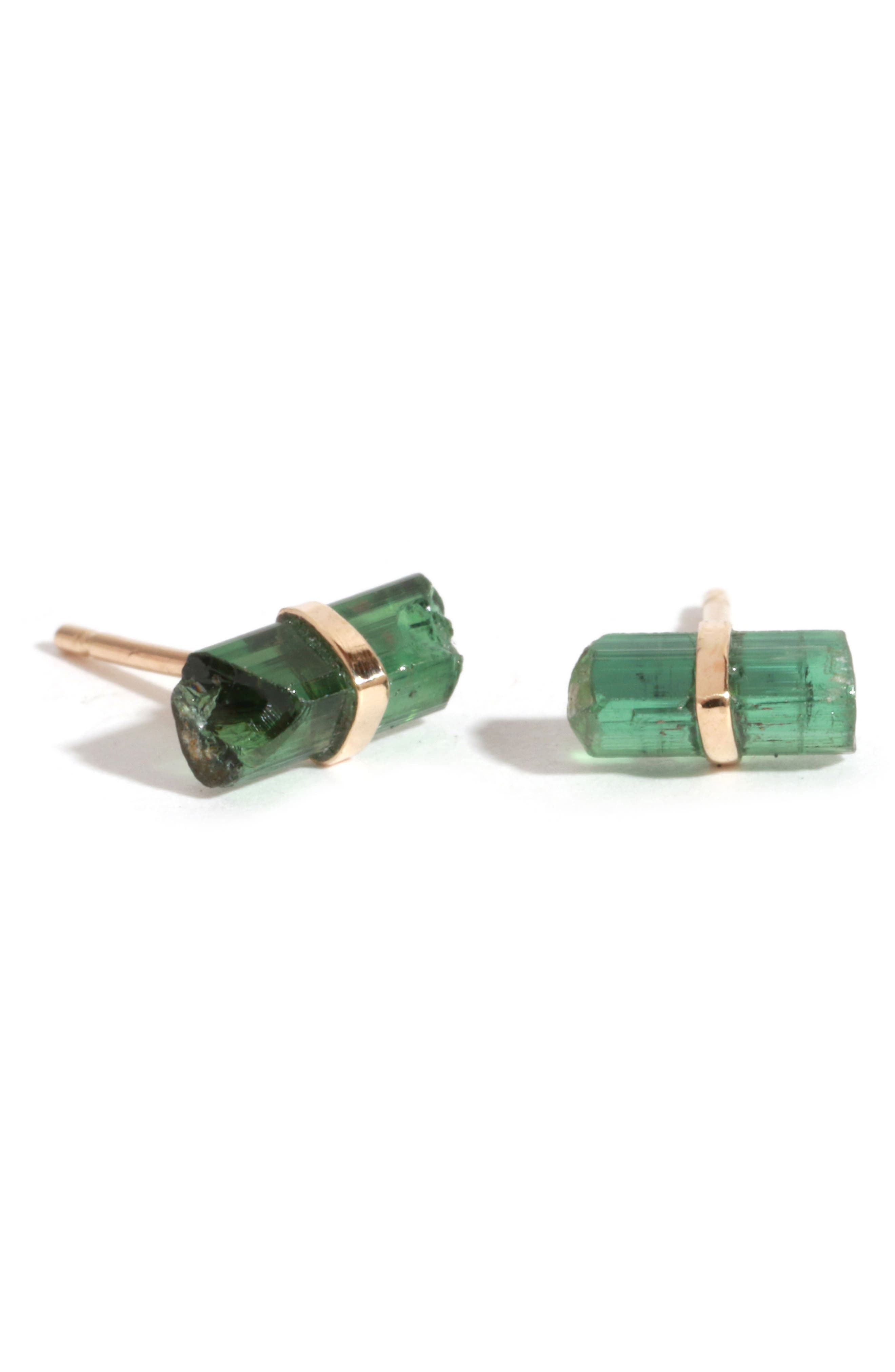 Wrapped Stone Stick Stud Earrings,                         Main,                         color, Yellow Gold