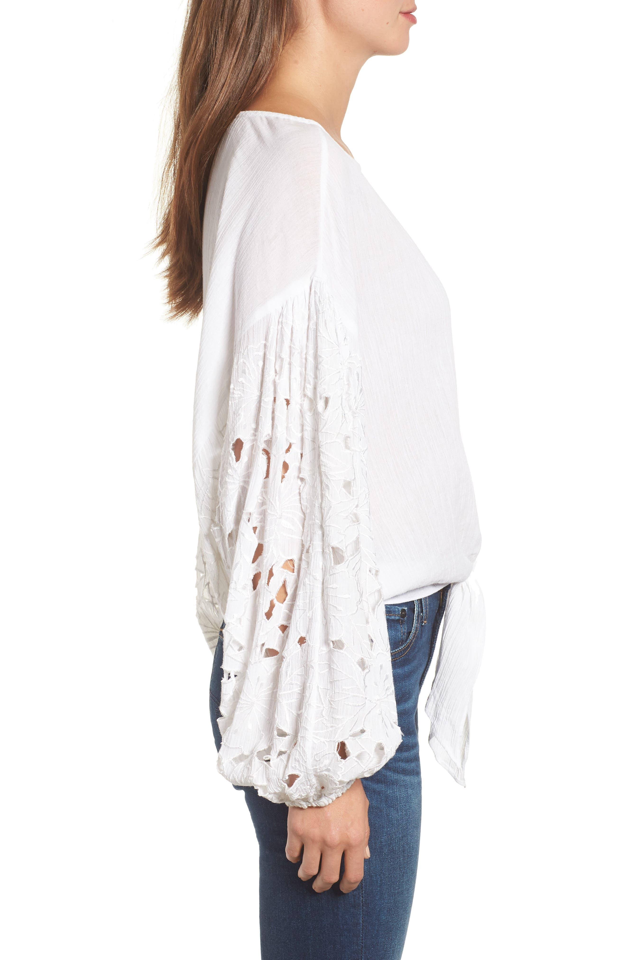 Tie Front Cut Floral Sleeve Cotton Blouse,                             Alternate thumbnail 3, color,                             White