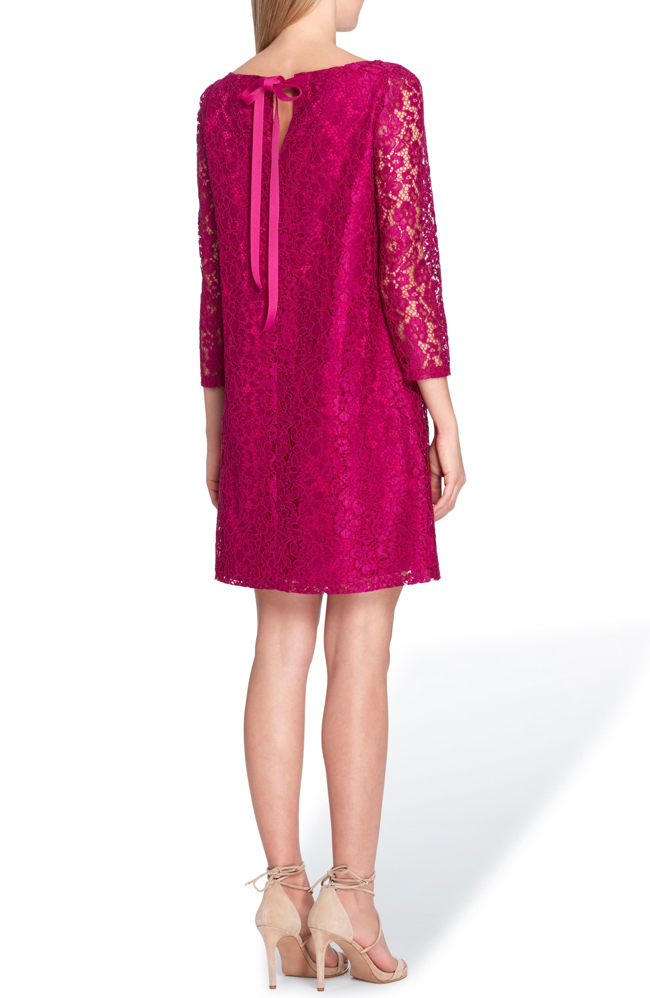 Lace Shift Dress,                             Alternate thumbnail 2, color,                             Fuchsia