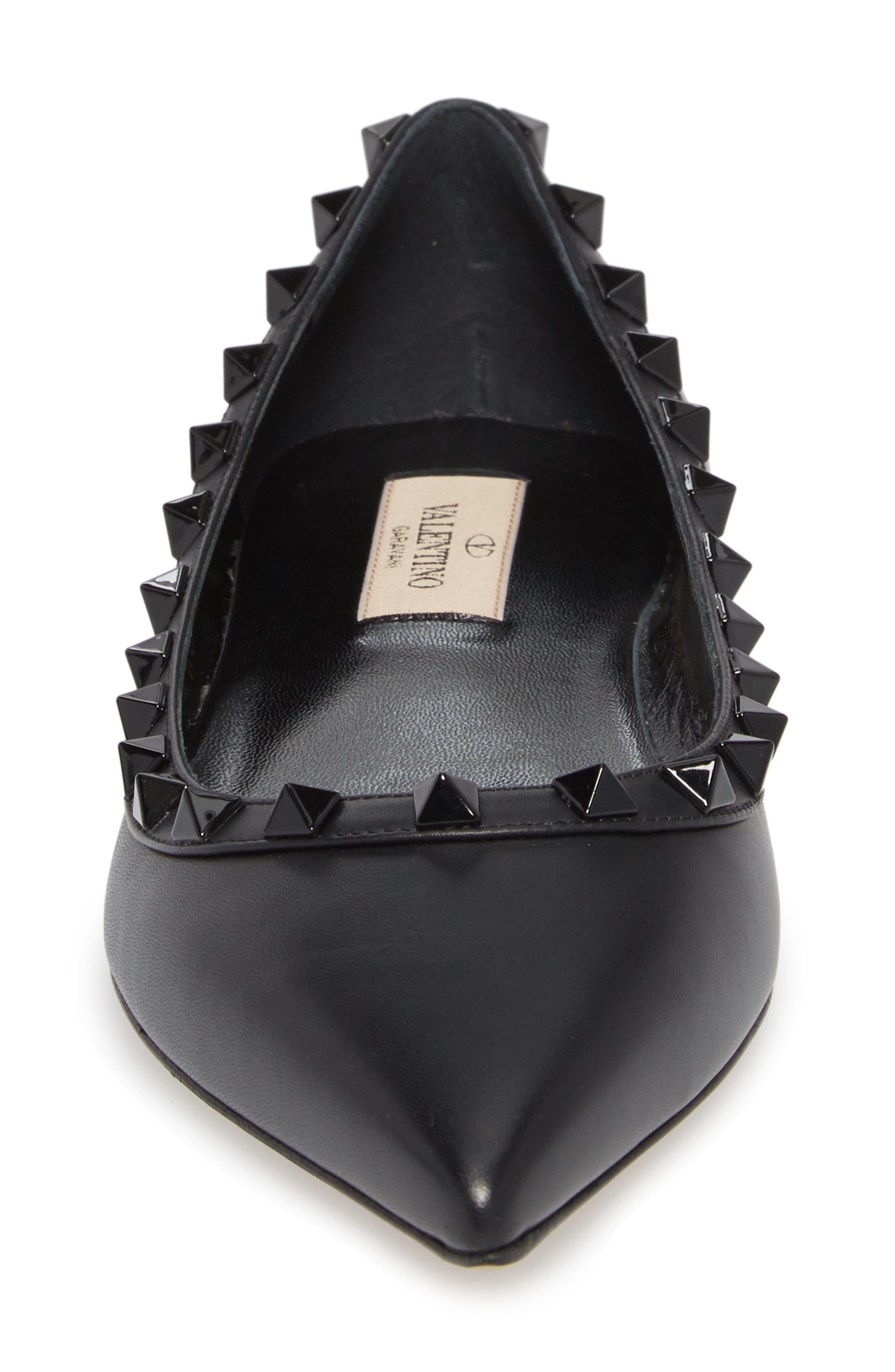 Rockstud Ballerina Flat,                             Alternate thumbnail 4, color,                             Black/ Black