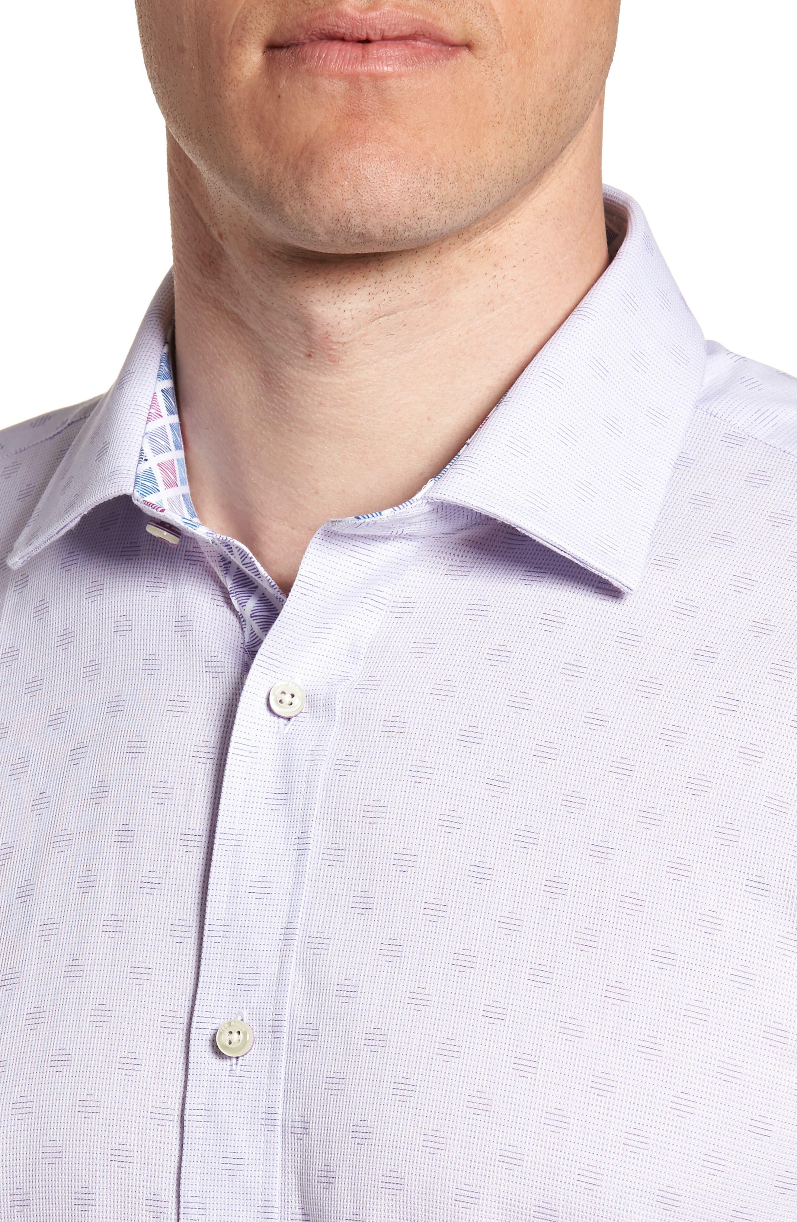 Racking Trim Fit Dot Dress Shirt,                             Alternate thumbnail 2, color,                             Purple