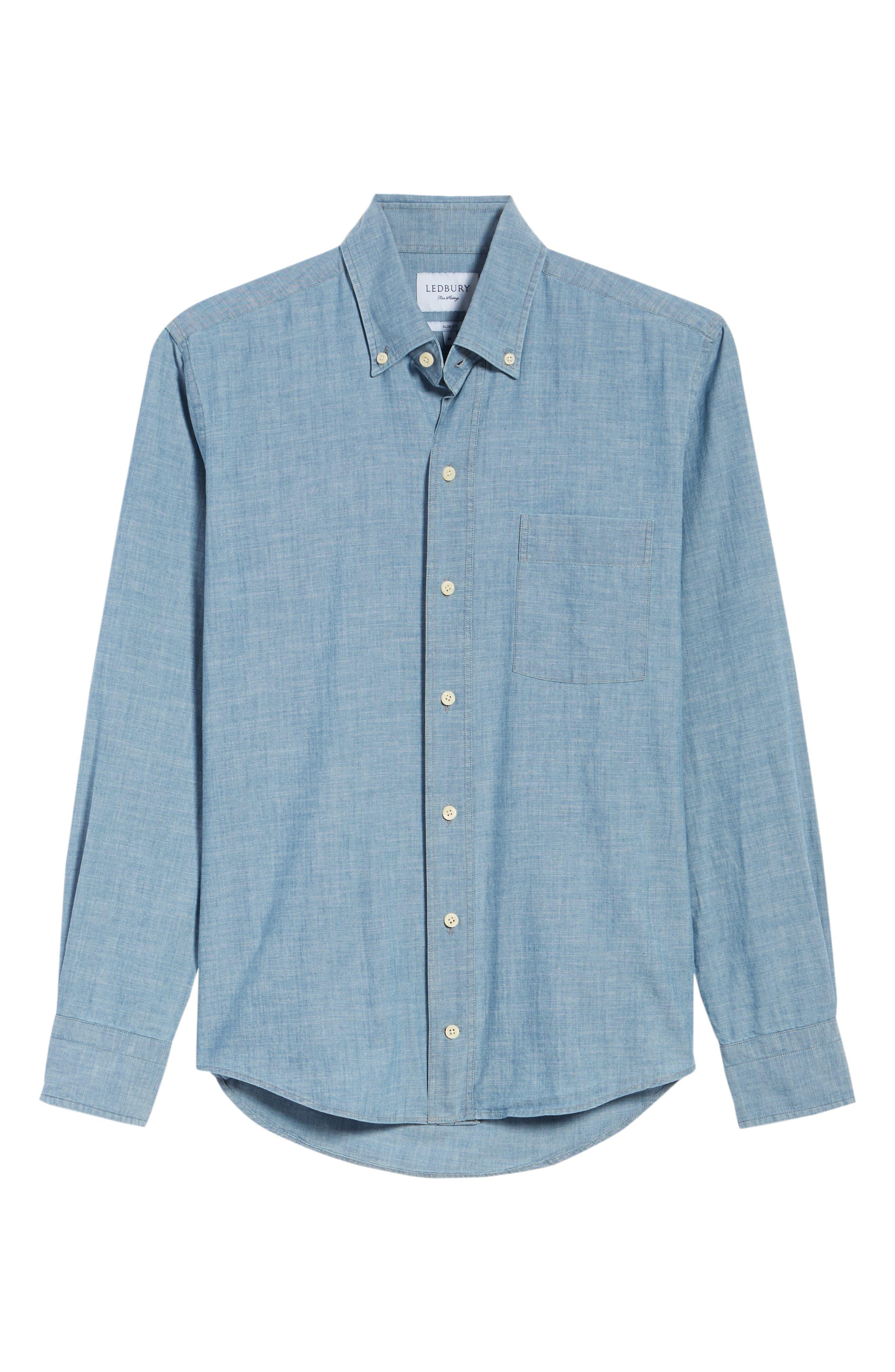 Ancroft Slim Fit Chambray Sport Shirt,                             Alternate thumbnail 6, color,                             Blue