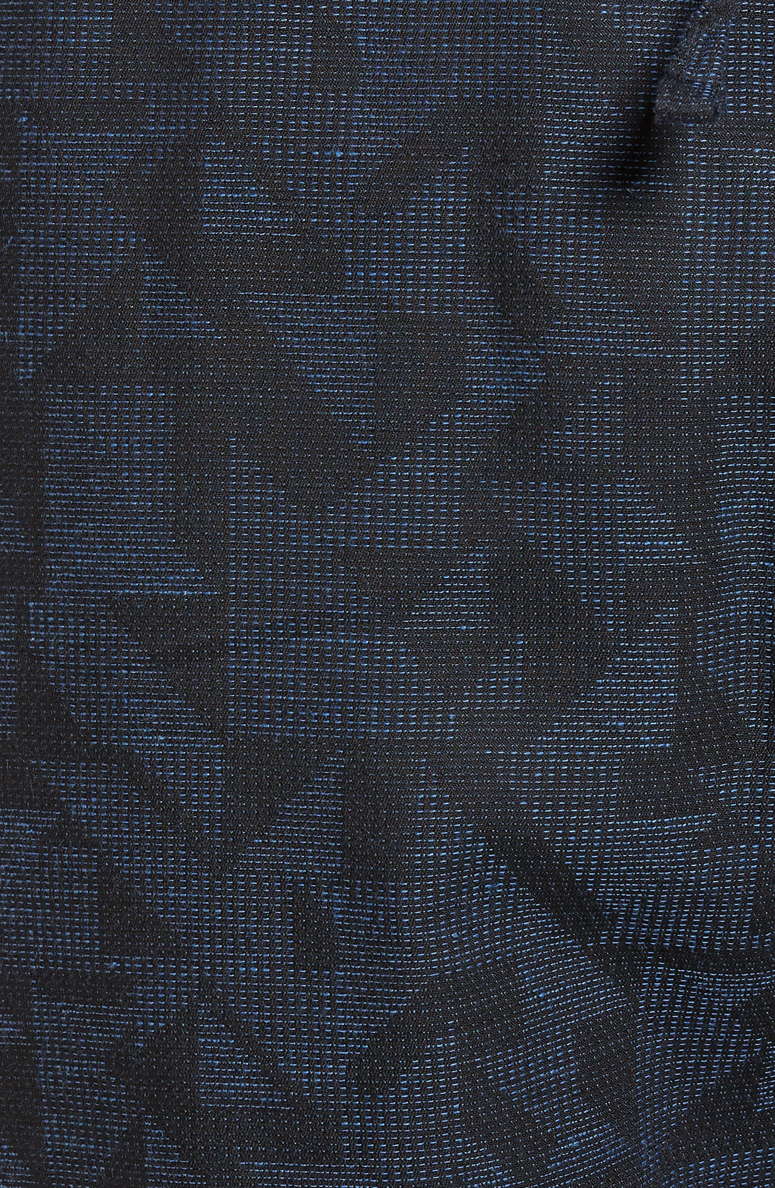 Print Beach Shorts,                             Alternate thumbnail 5, color,                             Navy Triangle Jacquard