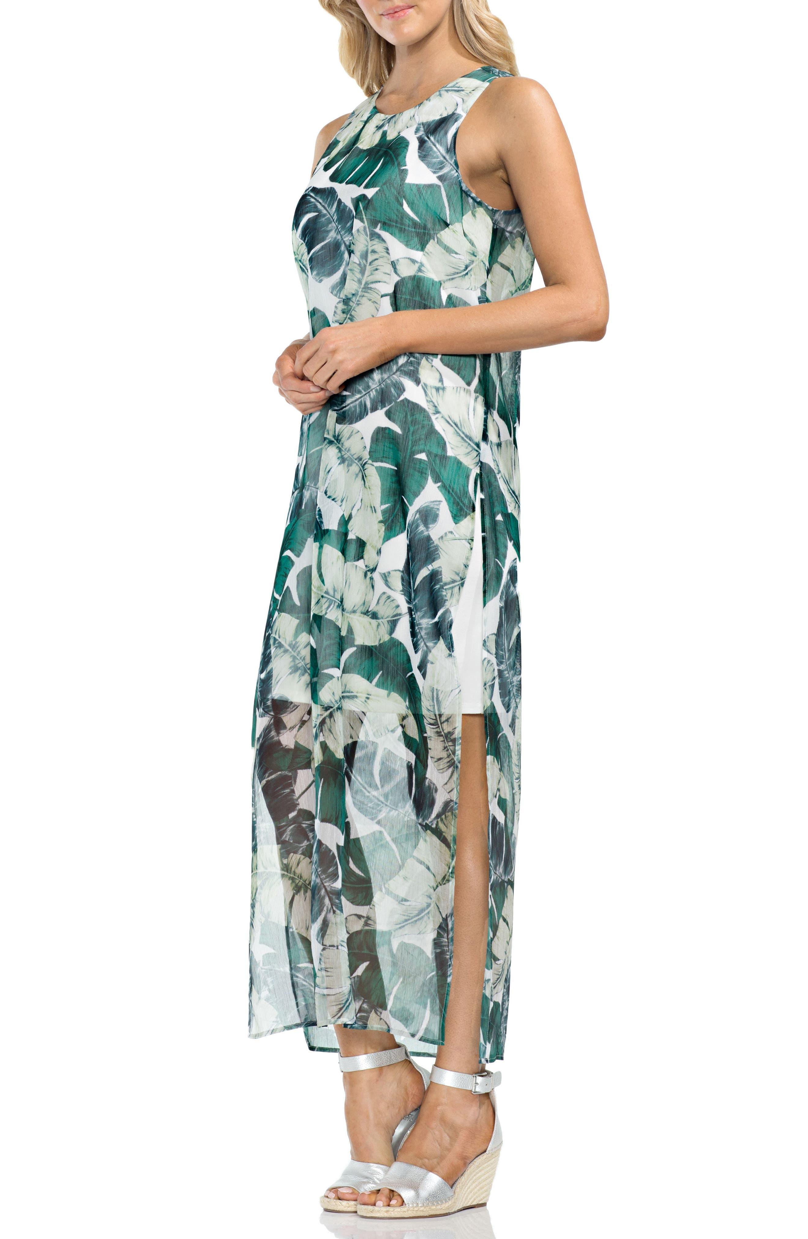 Jungle Palm Overlay Maxi Dress,                         Main,                         color, New Ivory