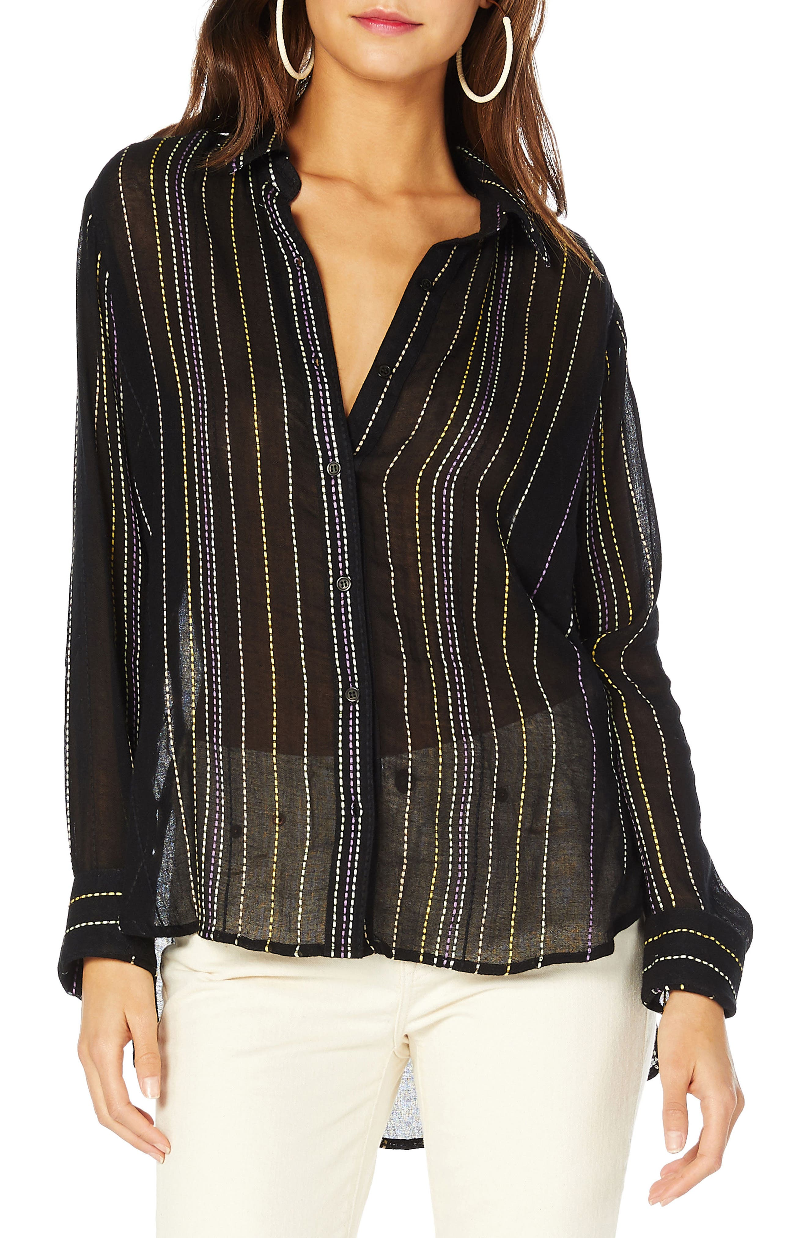 Beach Stripe Boyfriend Shirt,                             Main thumbnail 1, color,                             Black