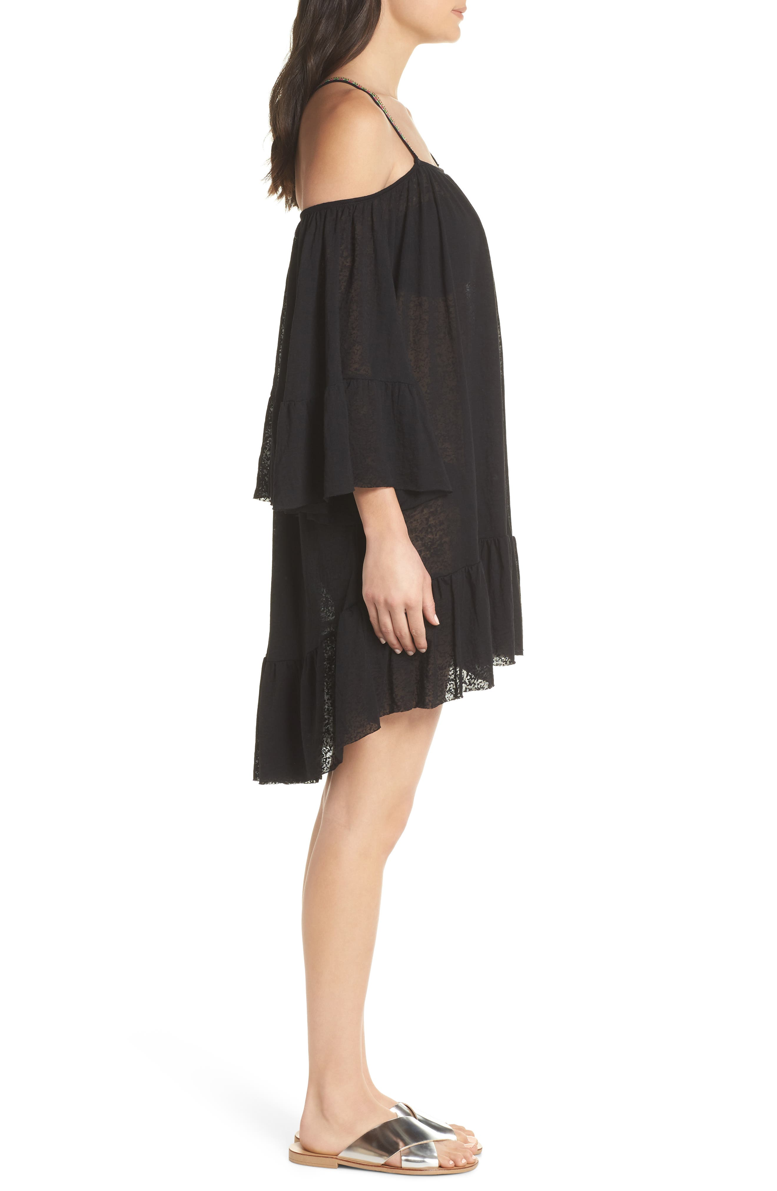 Dancing Cover-Up Dress,                             Alternate thumbnail 5, color,                             Black