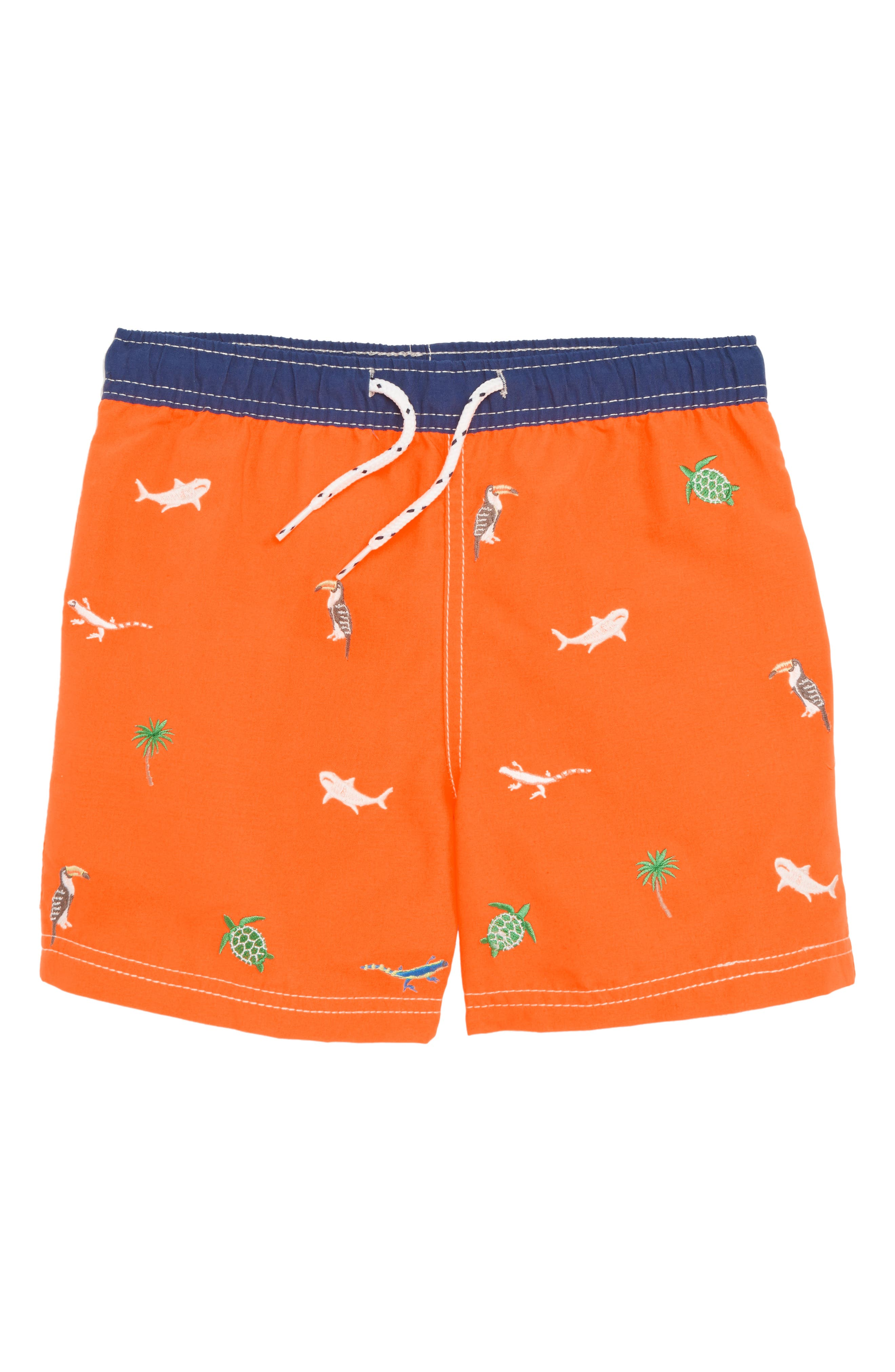 Main Image - Mini Boden Embroidered Swim Trunks (Toddler Boys, Little Boys & Big Boys)