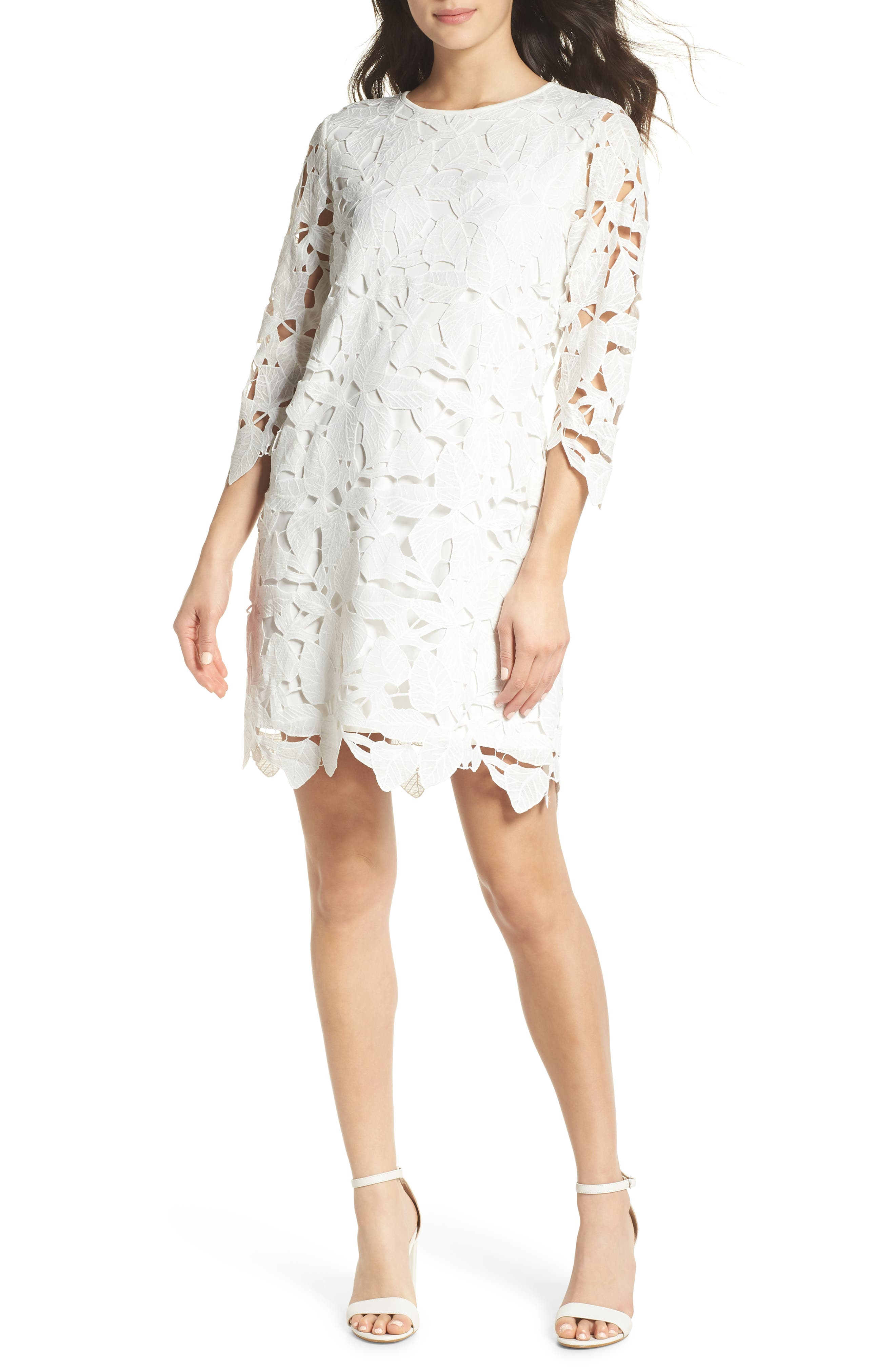 Skye Lace Shift Dress,                         Main,                         color, White