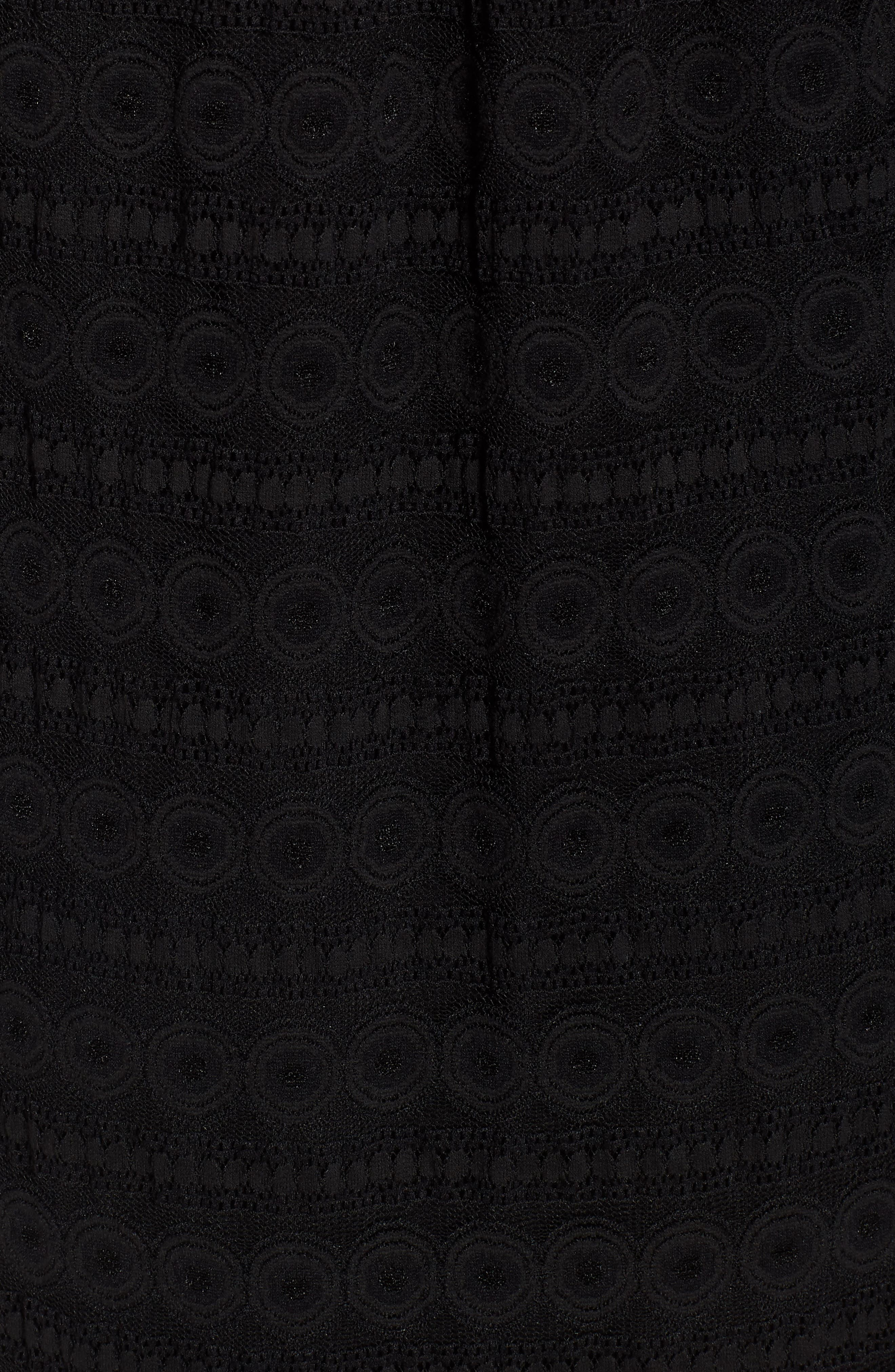 Circle Medallion Lace Off the Shoulder Dress,                             Alternate thumbnail 6, color,                             Black