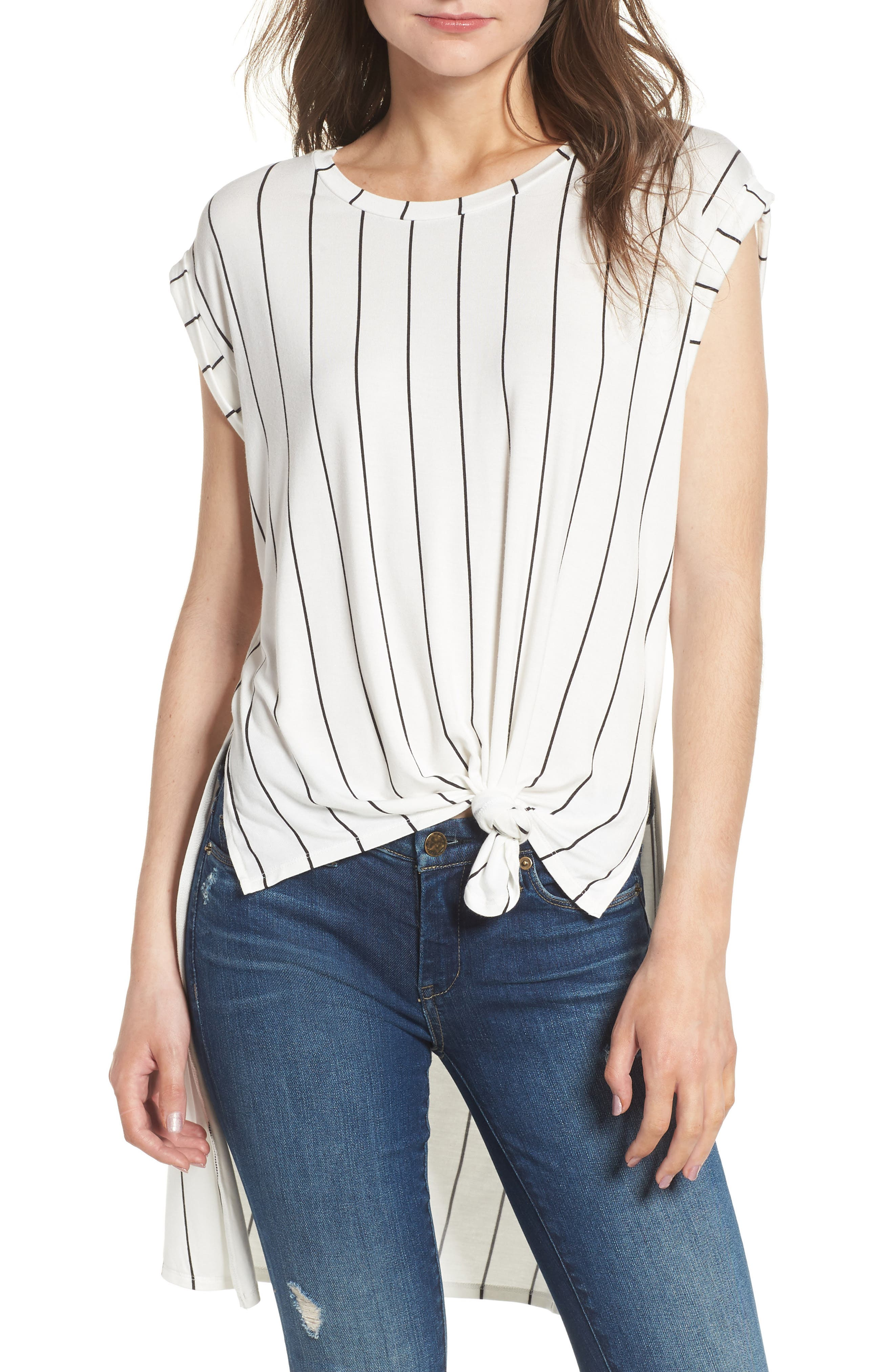 High/Low Knot Front Top,                             Main thumbnail 1, color,                             White/ Black Stripe