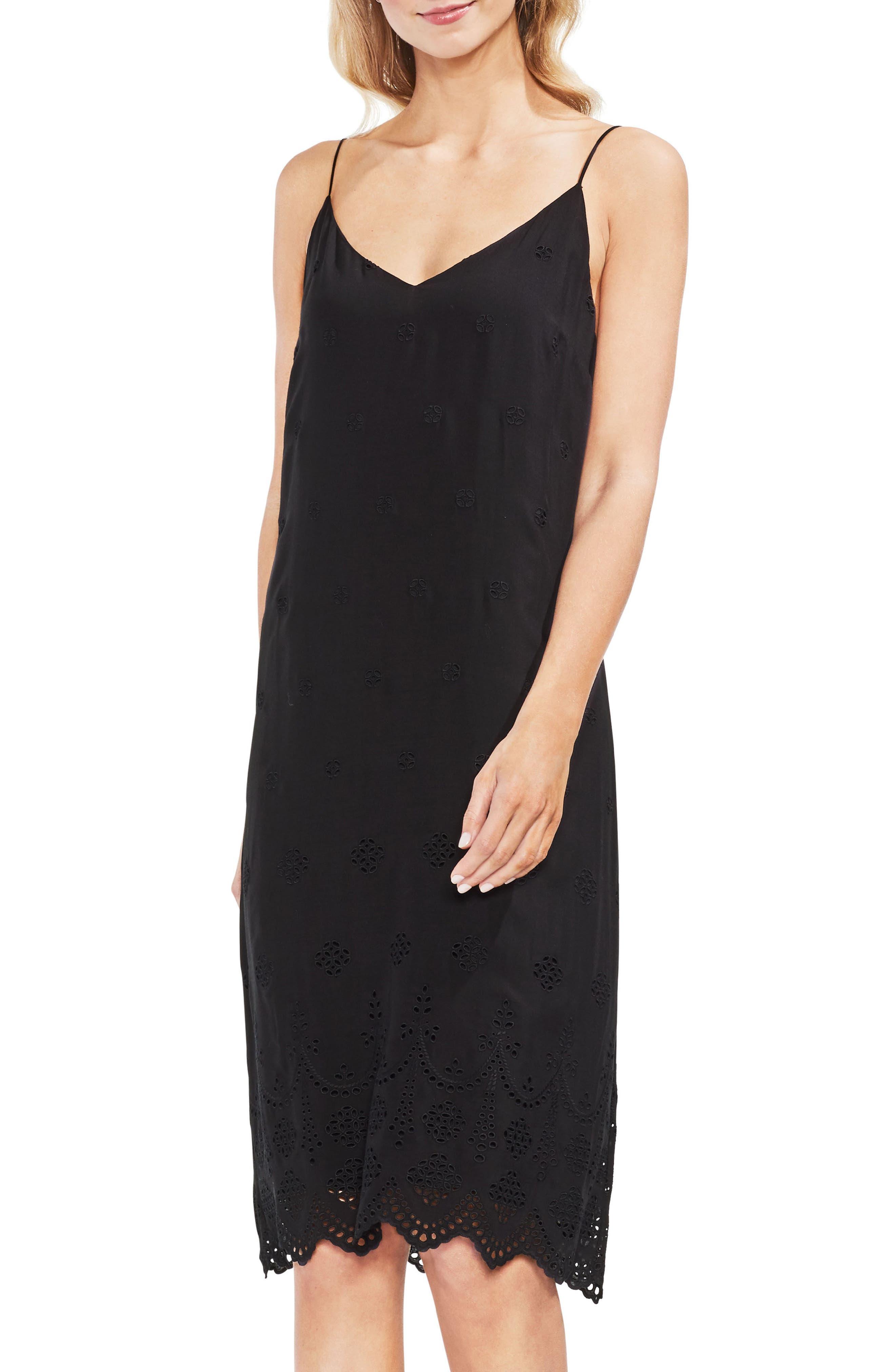 Eyelet Scallop Dress,                             Main thumbnail 1, color,                             Rich Black